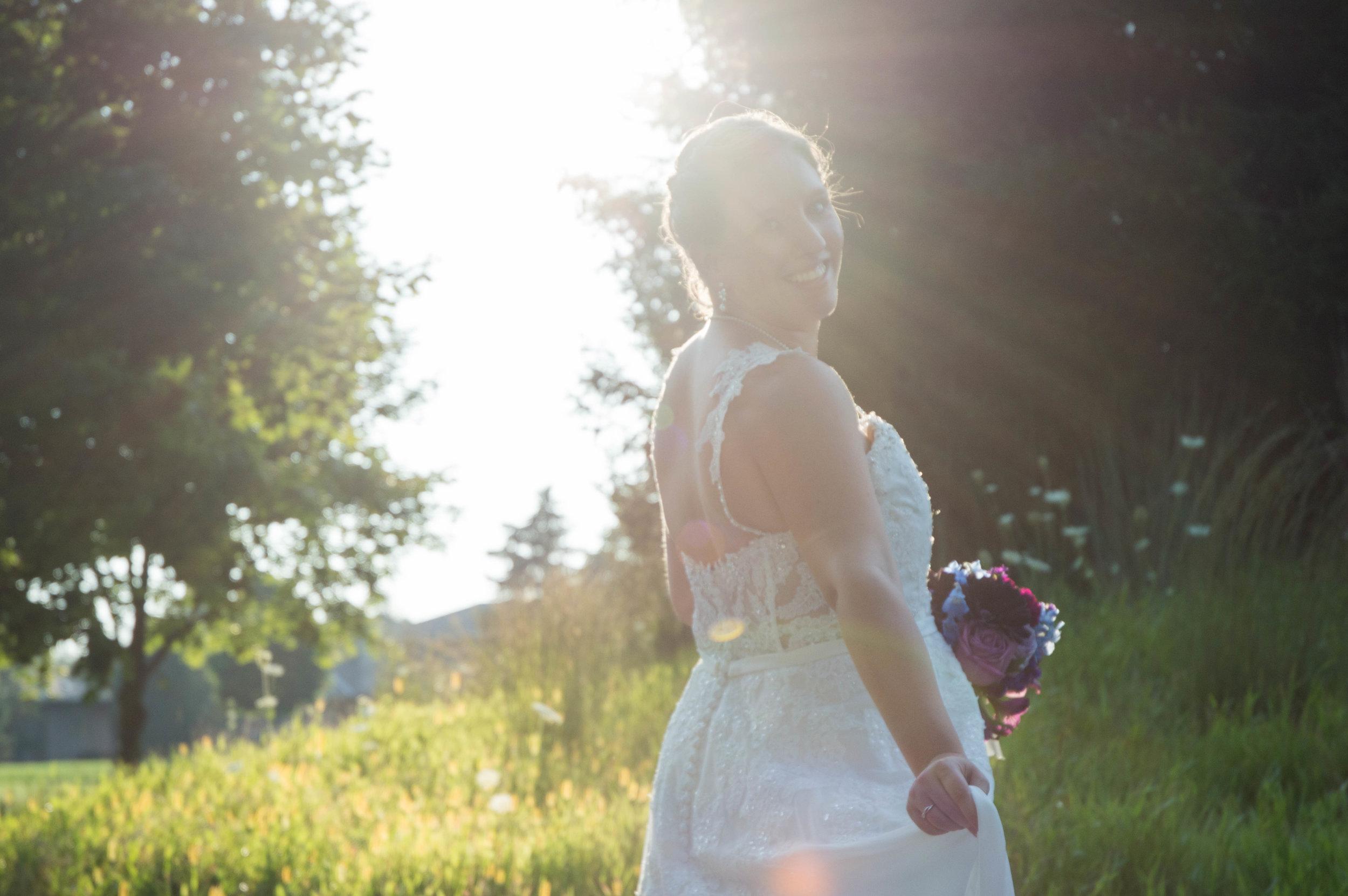 Sunset Wedding Pictures, The Legends in Hartland, Wisconsin Bride