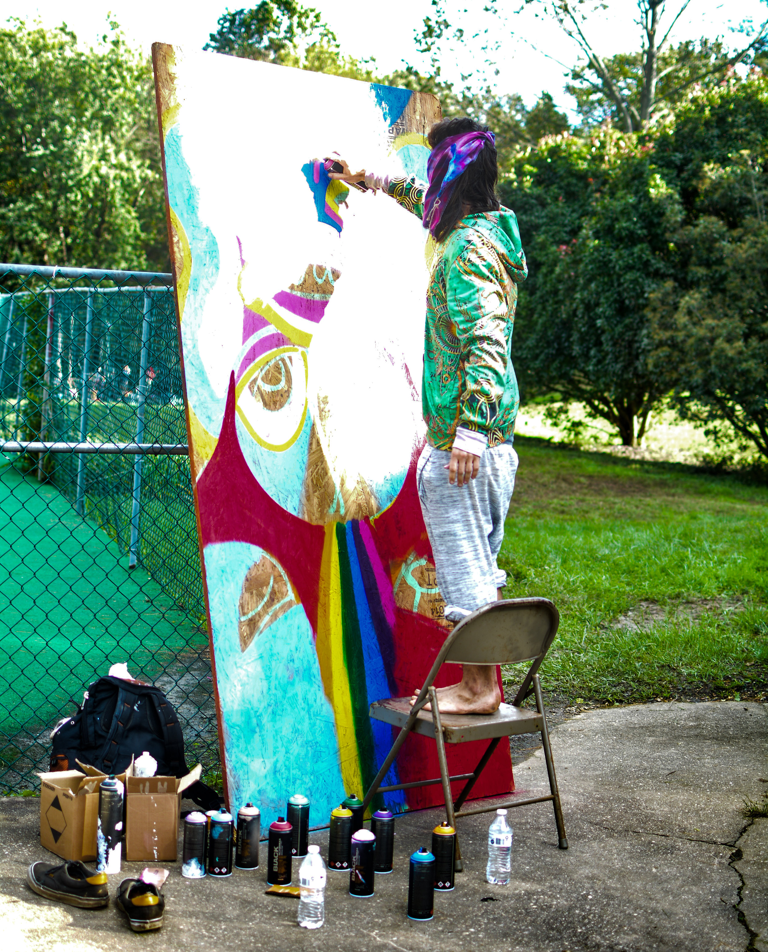 Yogamuffin painting at Beauty in the backyard 2018 live art music collaboration sustainability love community earth friendly