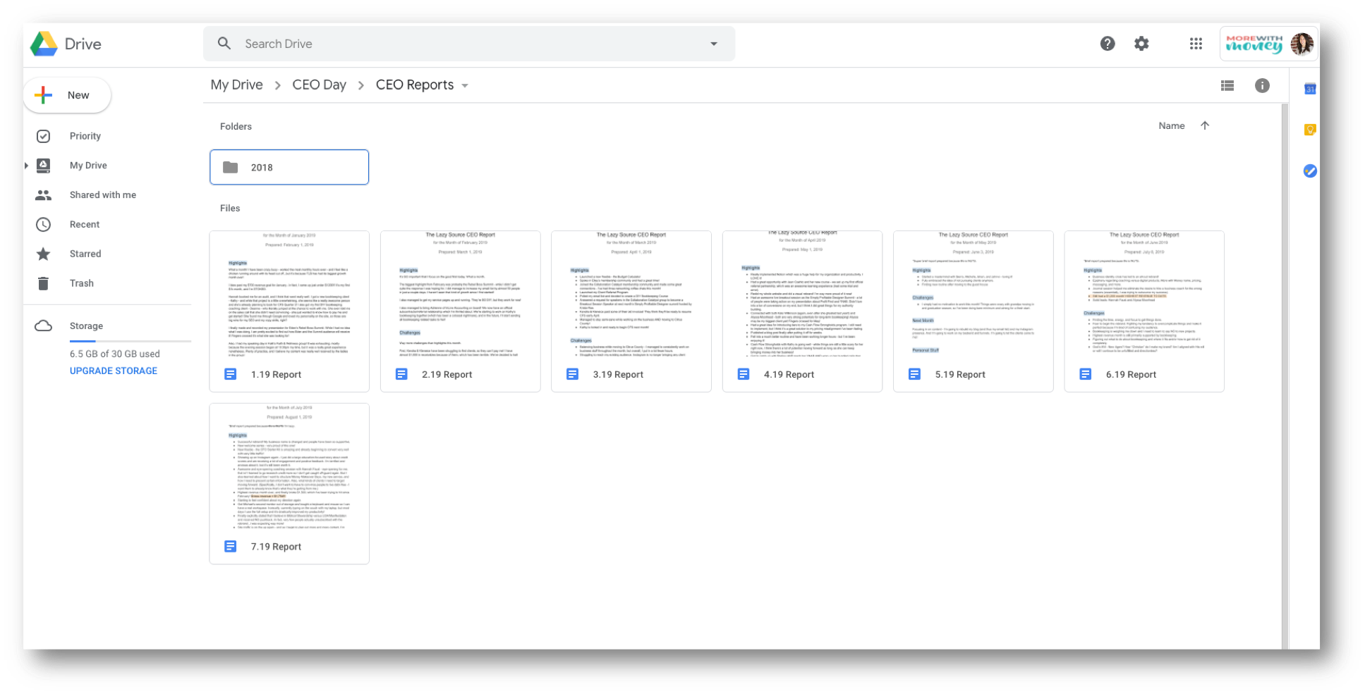 CEO Day Routine - ceo report folder in Google Drive screenshot.png