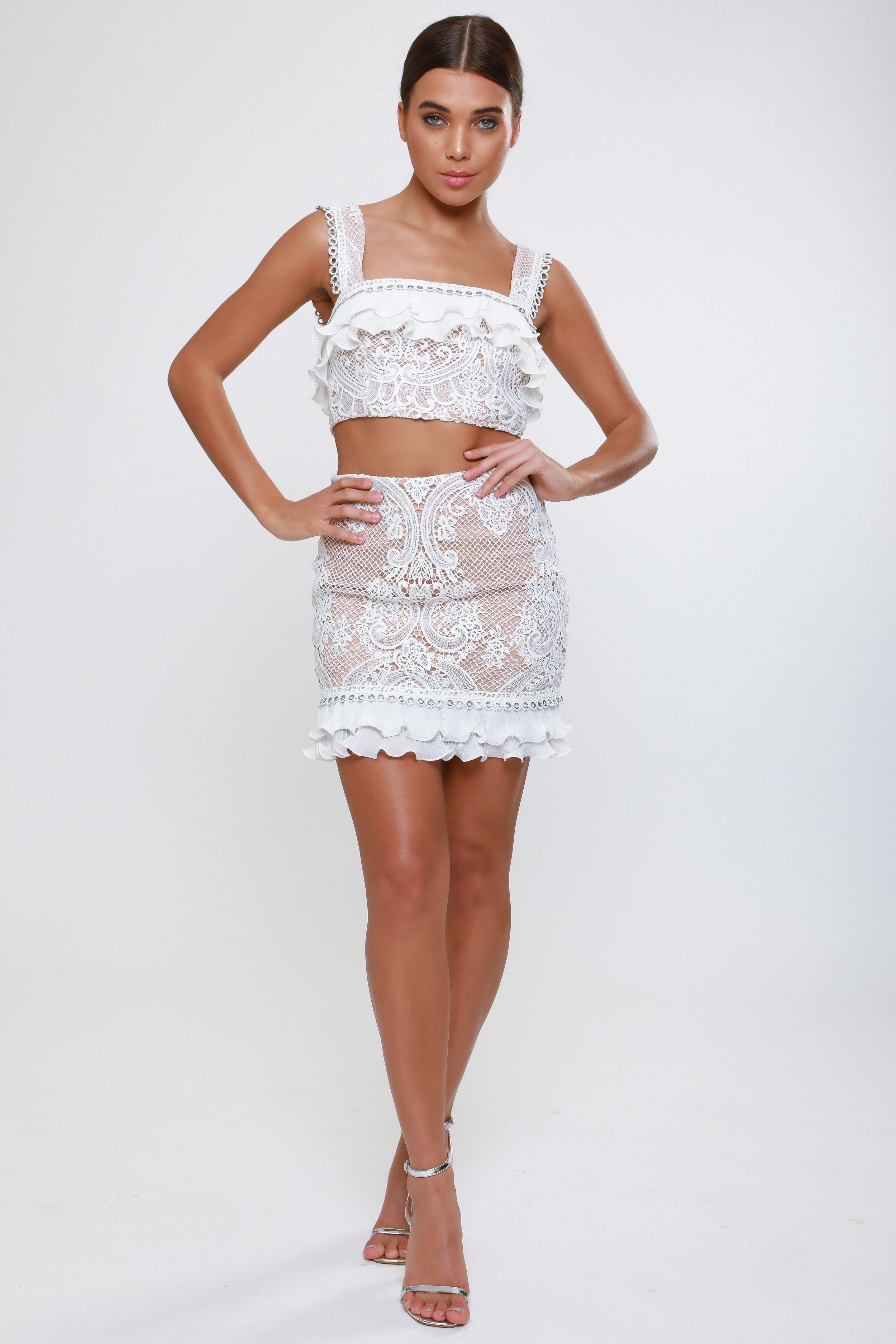 Lace Skirt with Pleated Trim Detail   £48.00