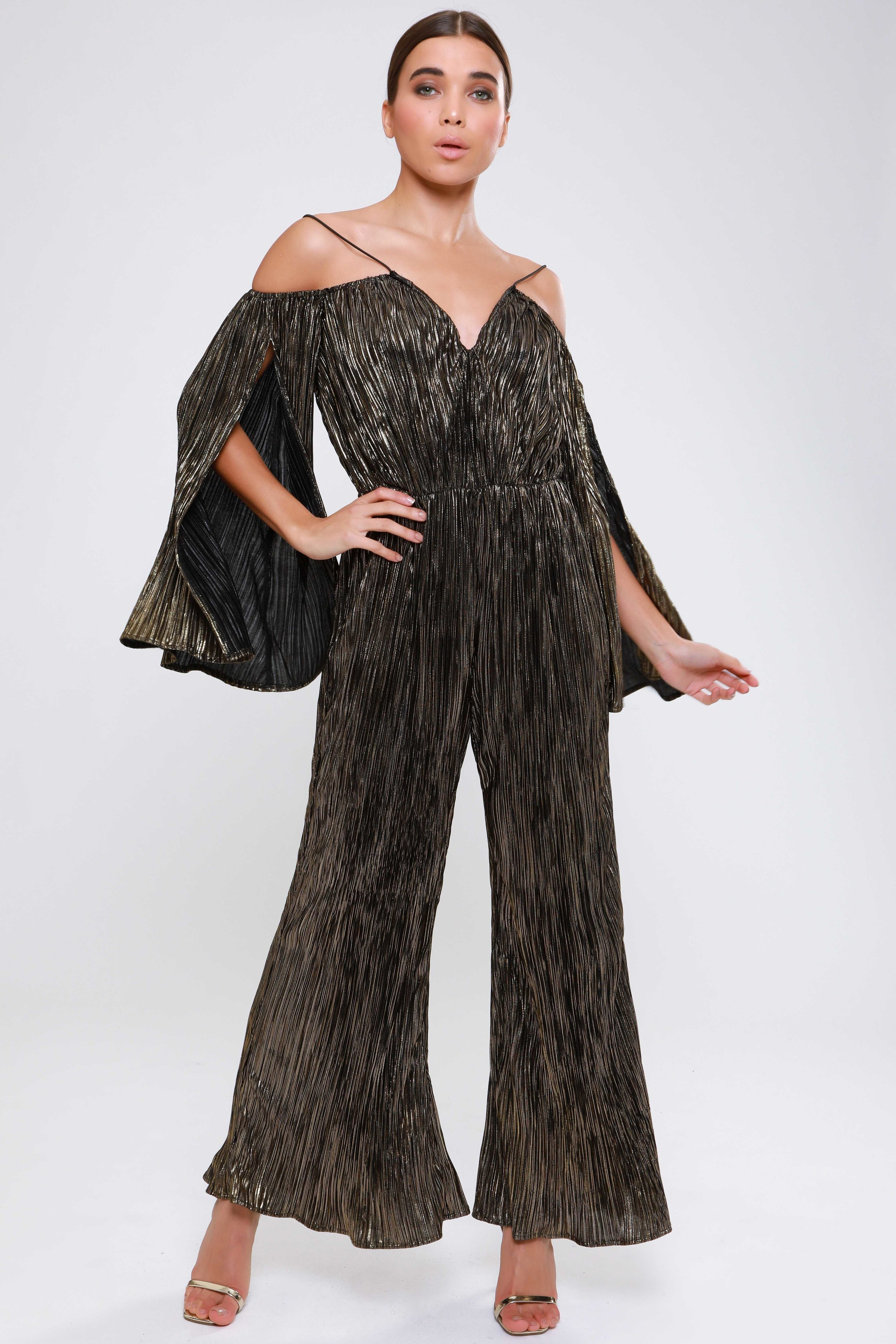 Metallic Plisse  Split Sleeve Culotte Jumpsuit   £69.00