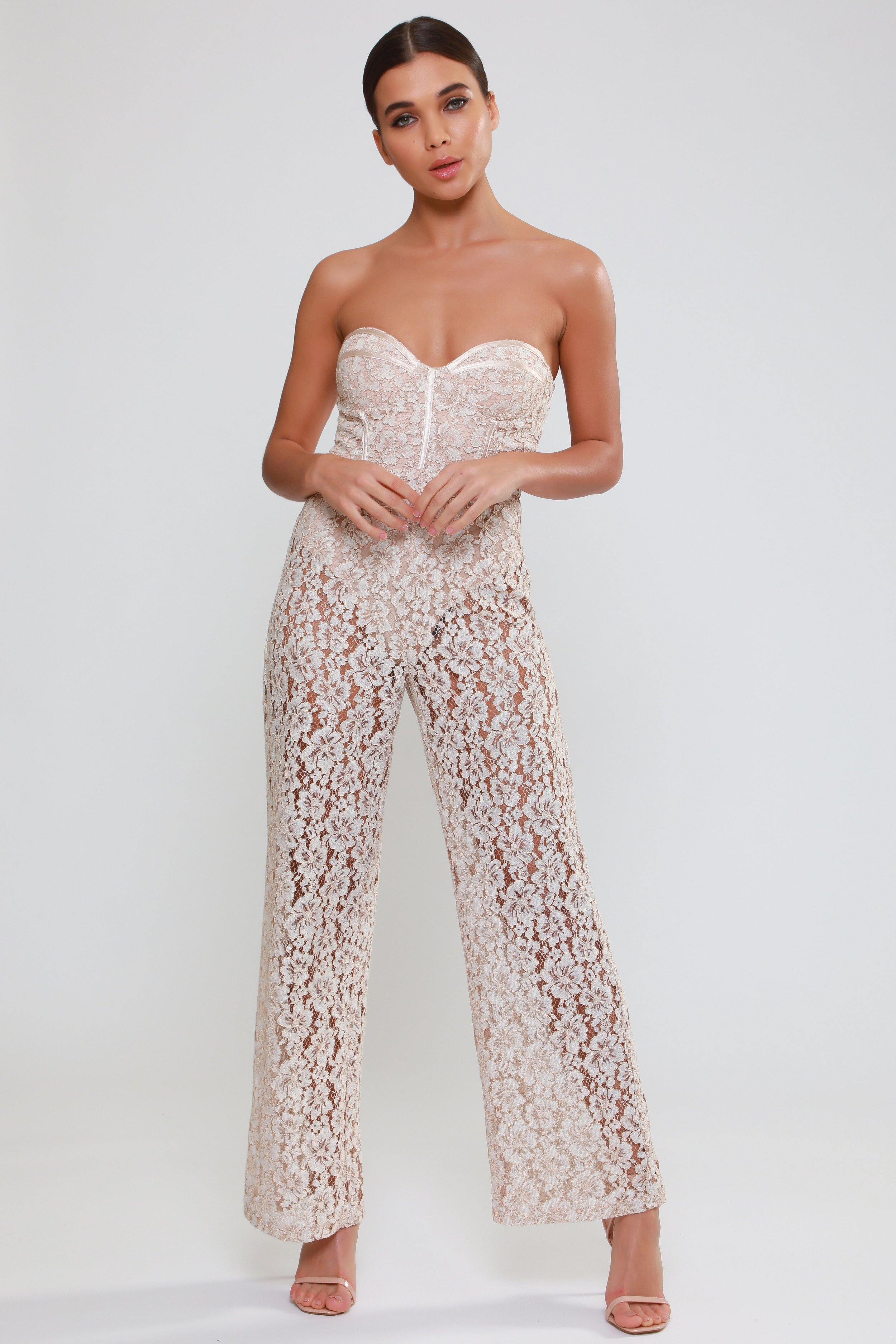 Lace Bralet Jumpsuit  with Knicker Lining   £70.00