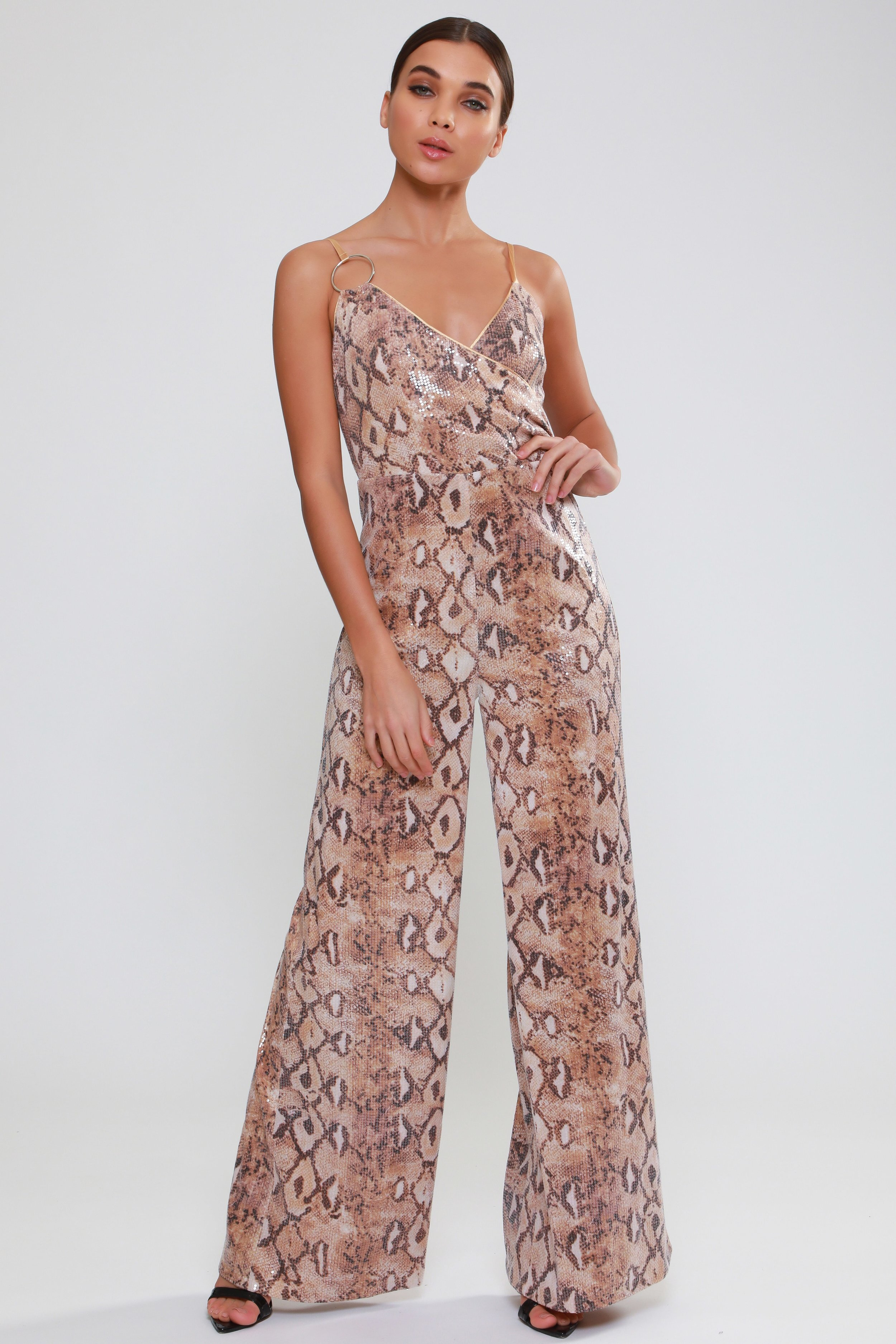 Ring Detail Snake  Print Jumpsuit   £85.00