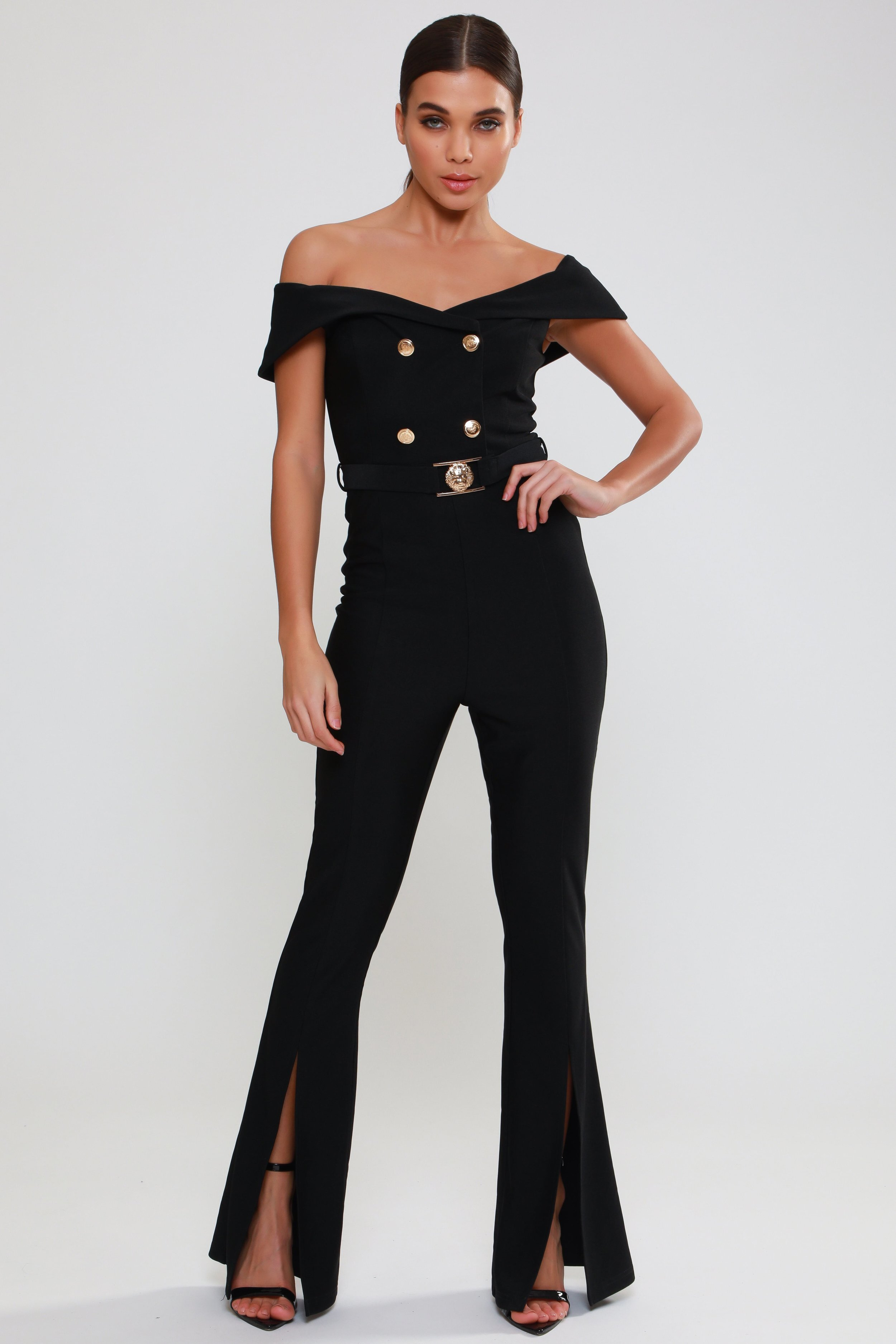 Bardot Button Detail  Jumpsuit   £69.00