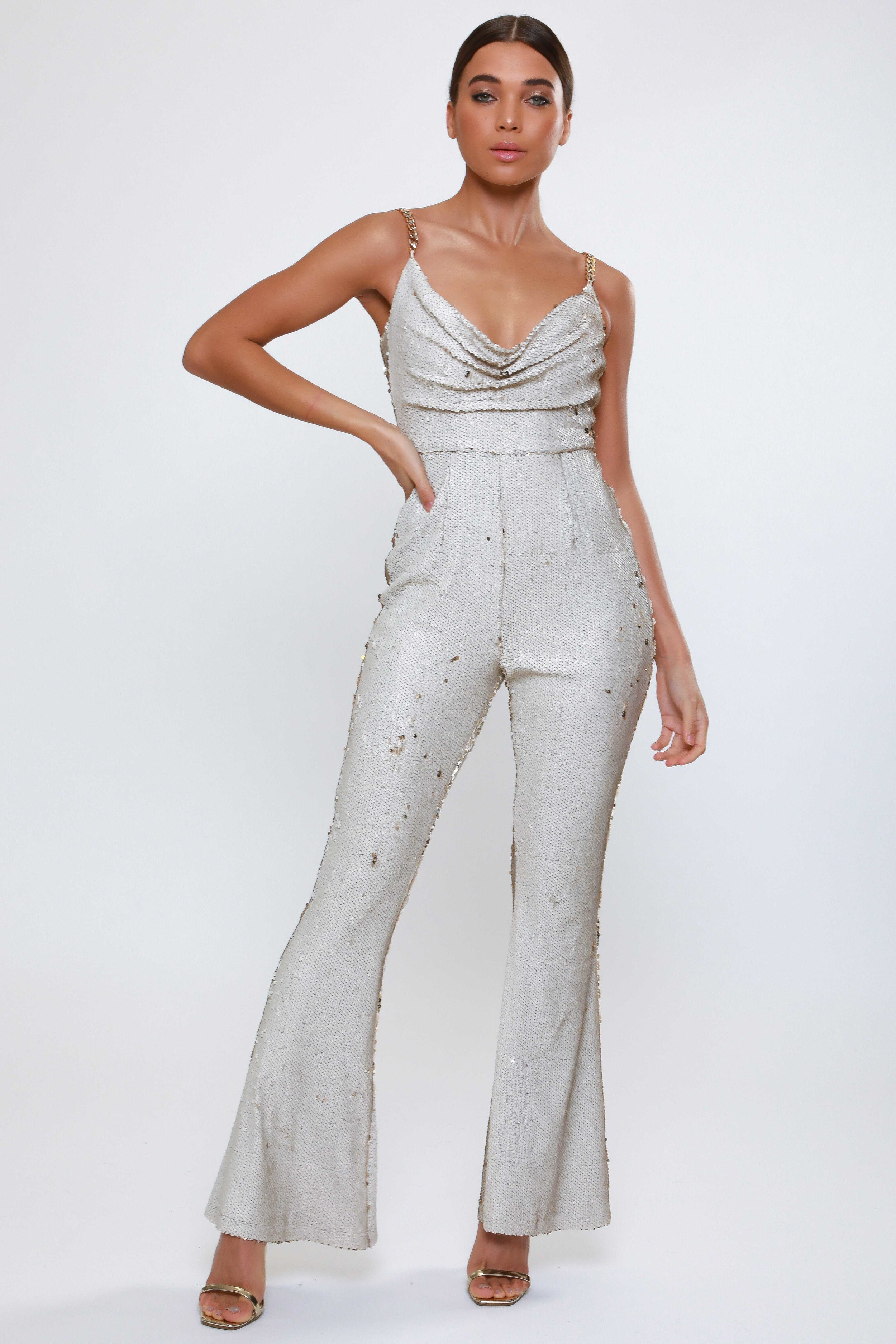 Sequin Cowl Flared  Leg Jumpsuit   £110.00