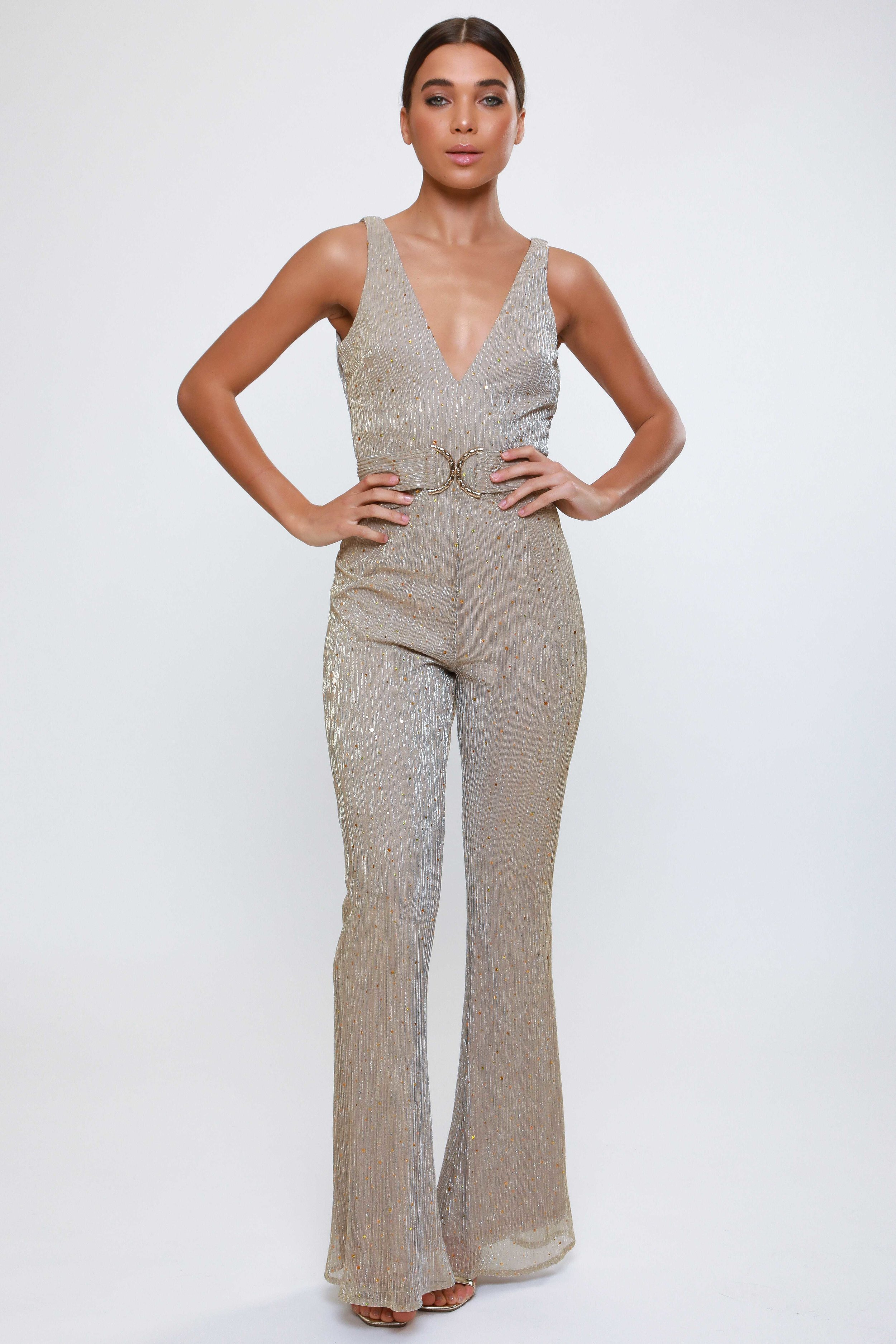 Metallic Plunge Flared Jumpsuit  with Hardware Belt   £65.00