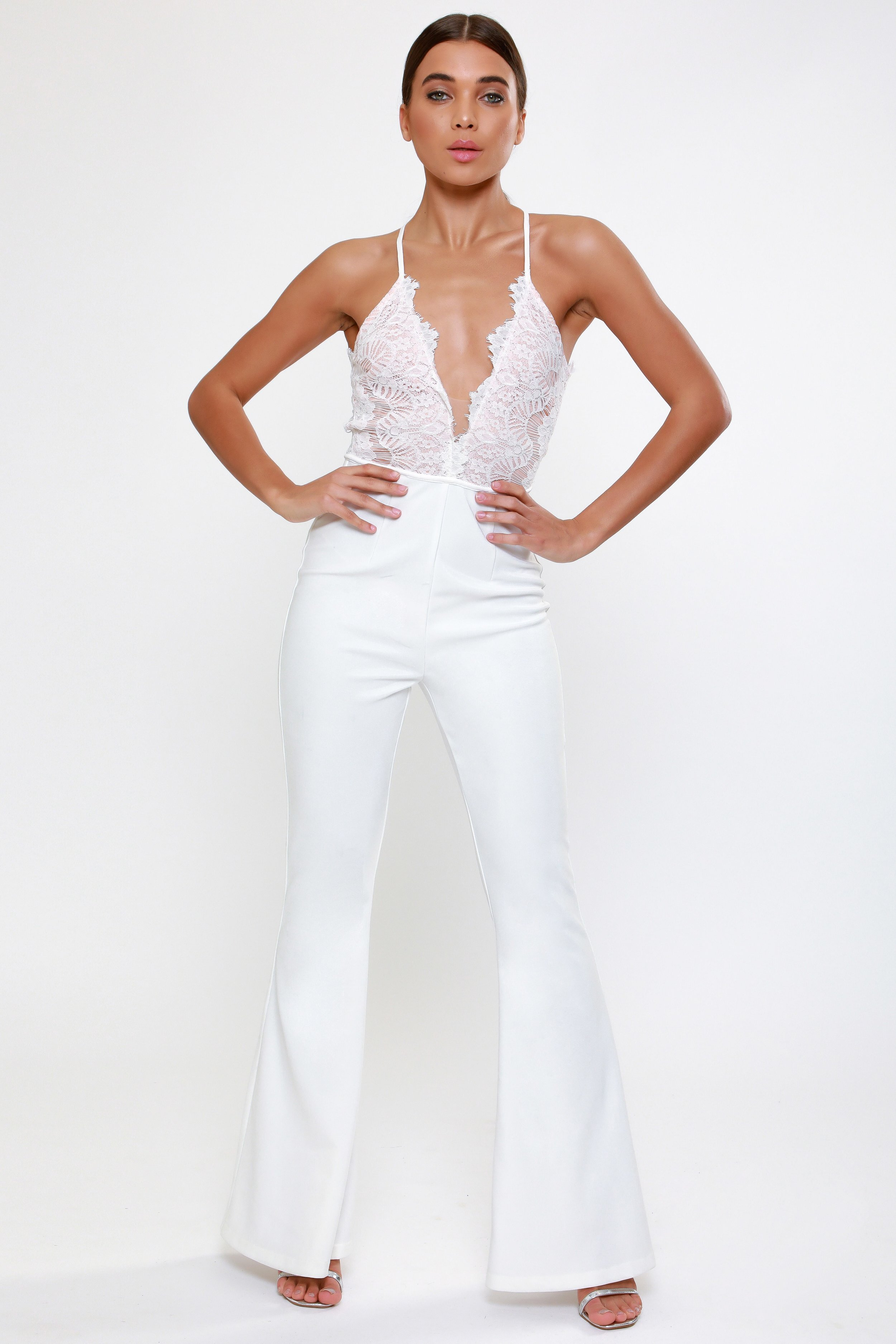 Eyelash Lace Flared Leg Jumpsuit   £72.00