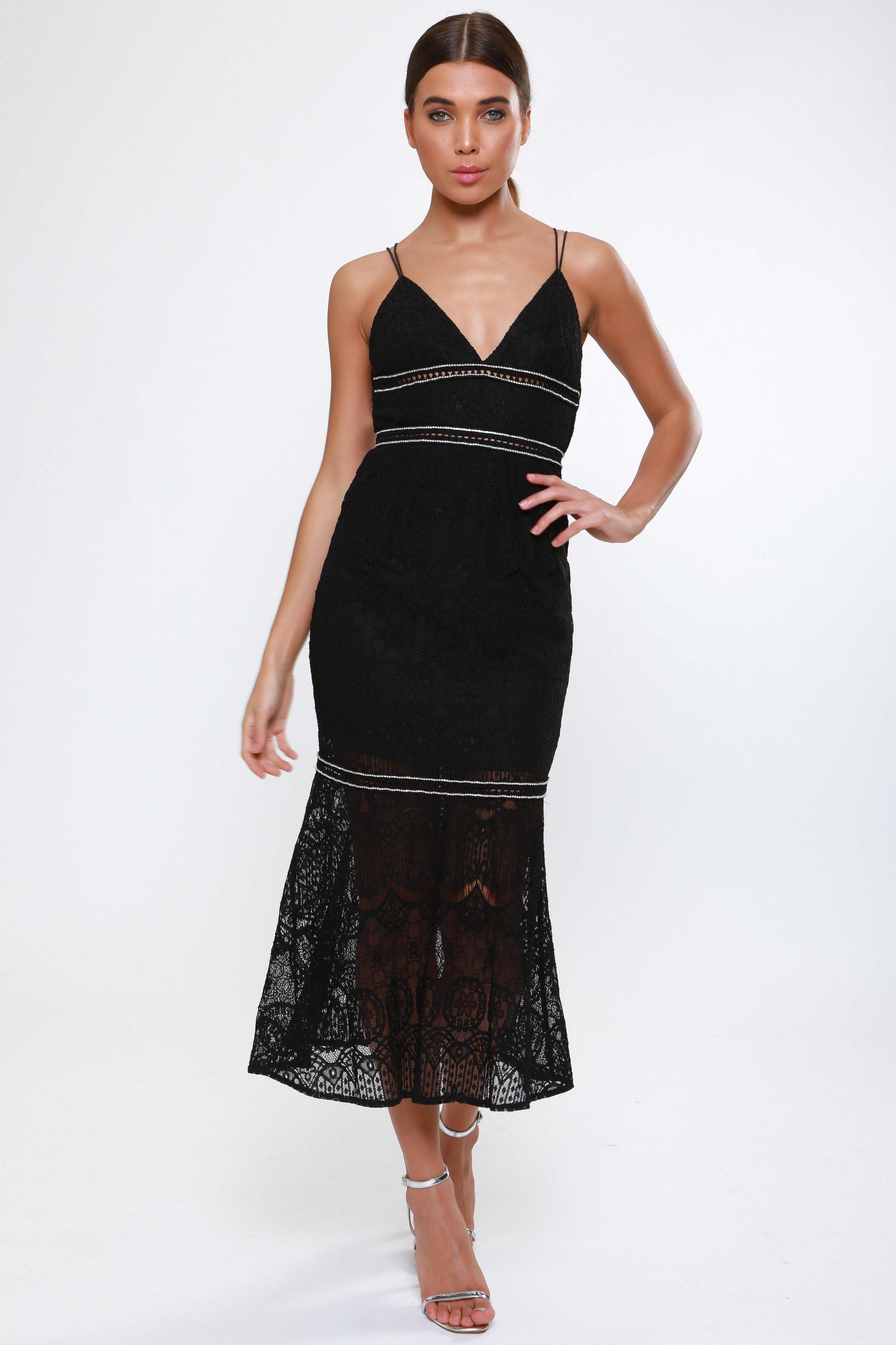Black Fluted Hem Lace Dress  with Diamante Crochet Trim Detail   £65.00