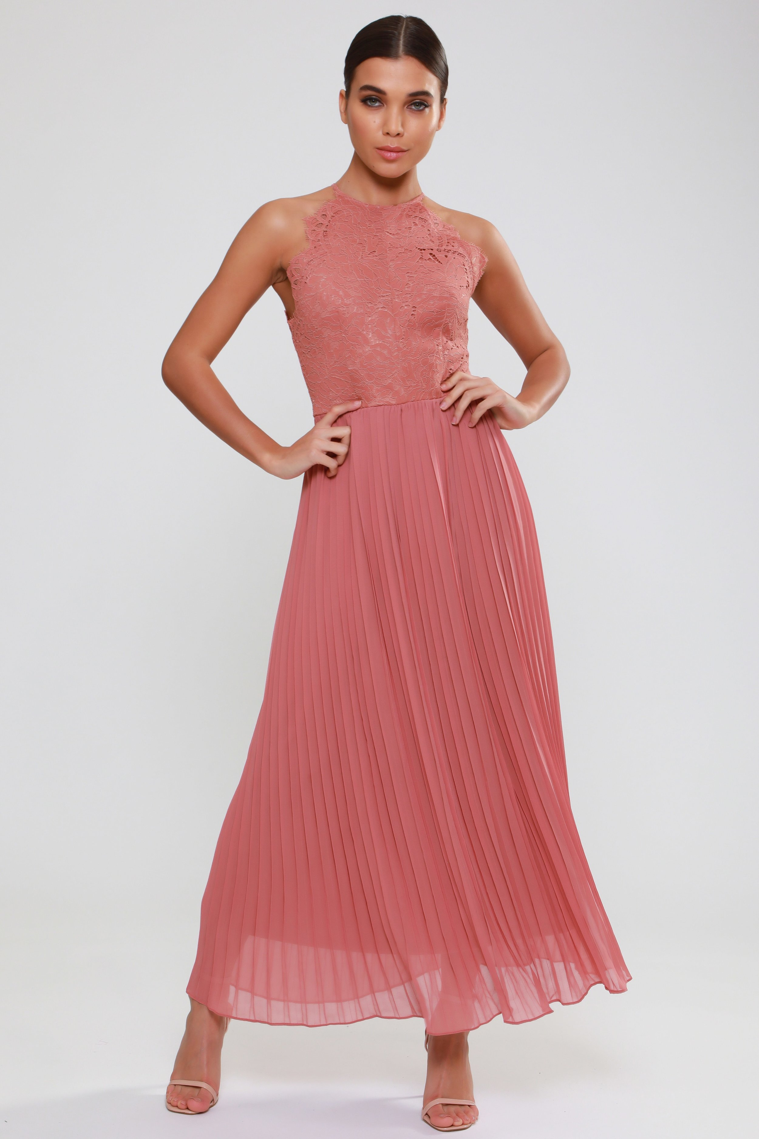 Lace Top Pleated  Maxi Dress   £95.00