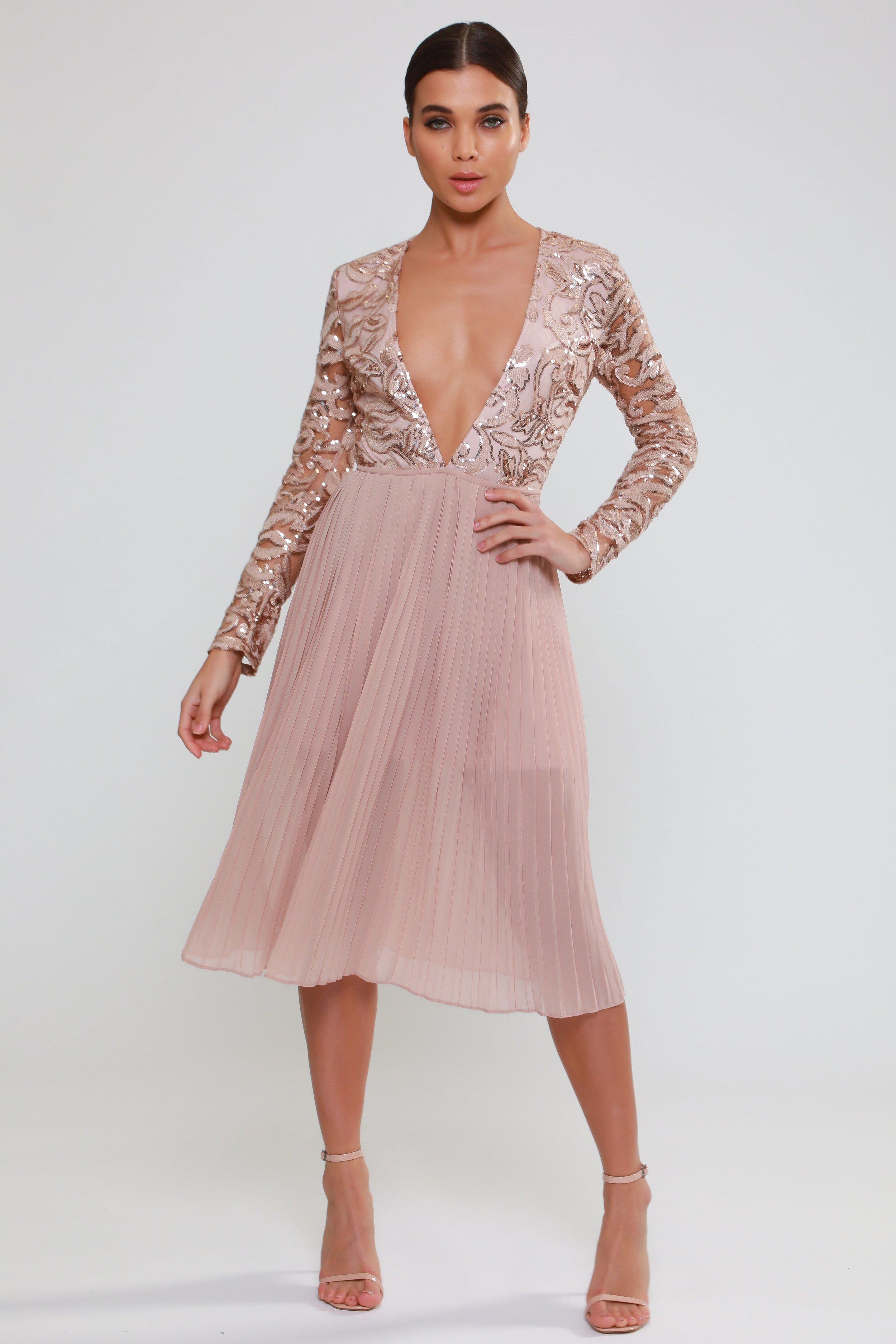 Sequin Plunge Pleated  Midi Dress   £100.00