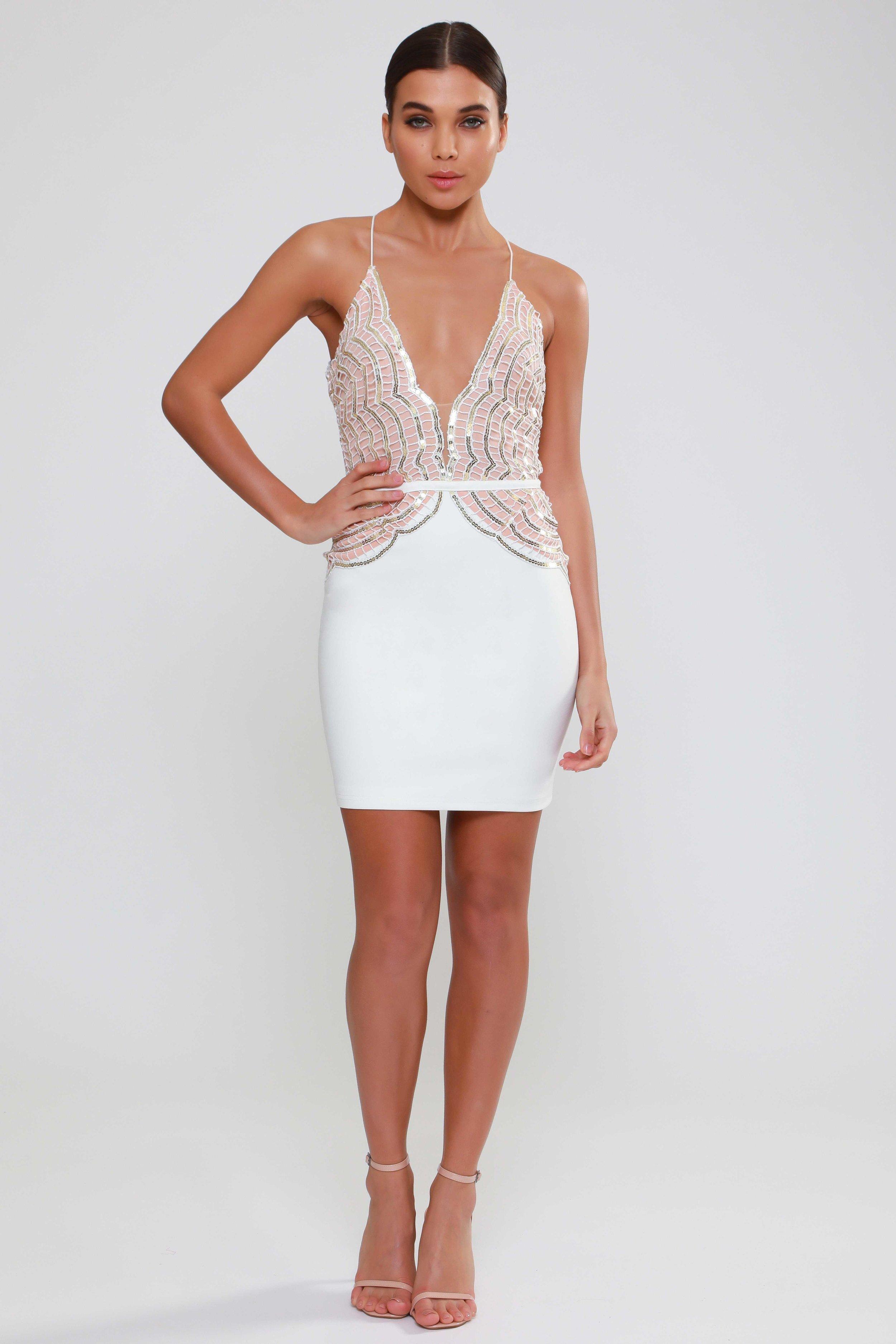 Sequin White  Mini Dress   £65.00