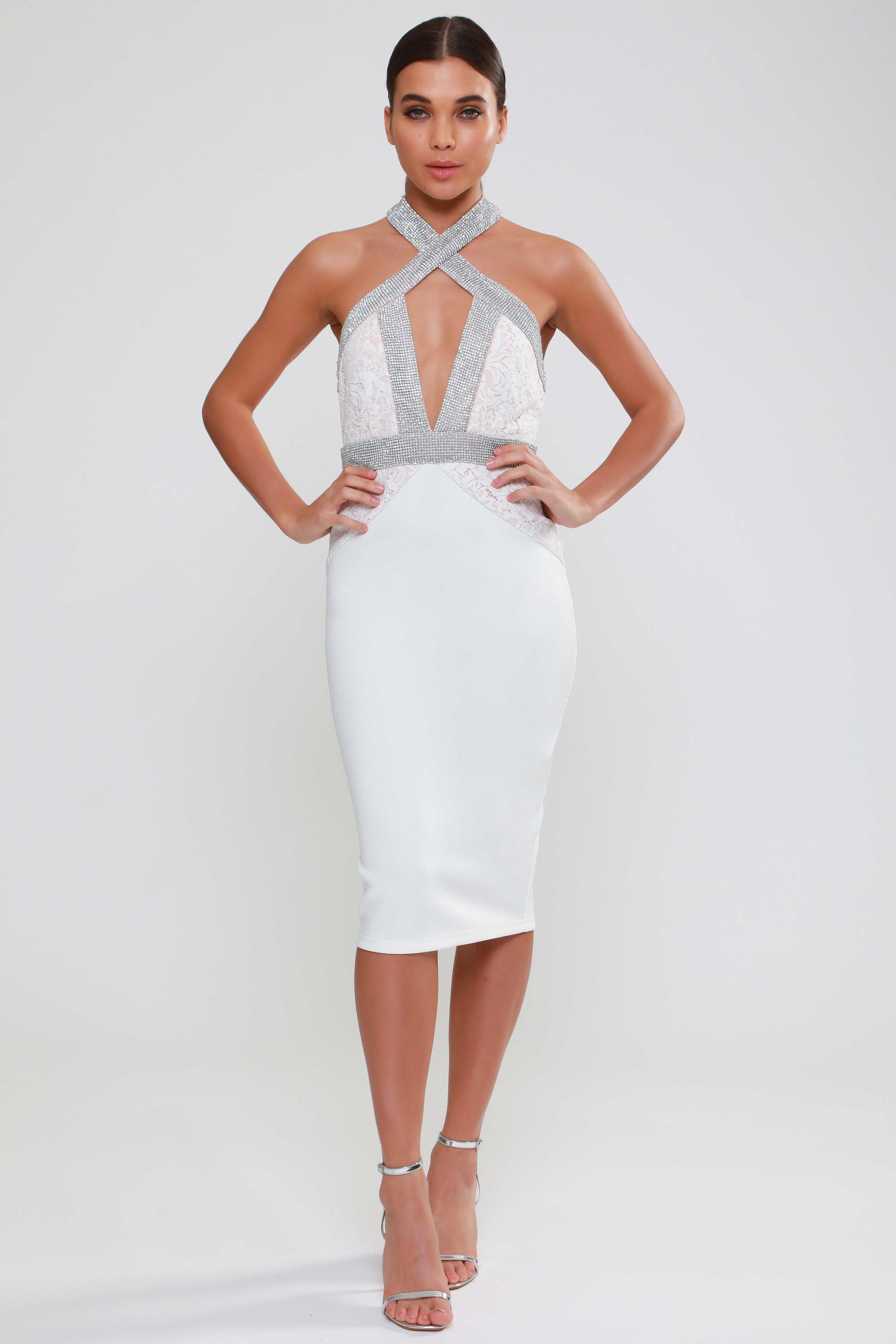 Diamante Cross Strap Midi Dress   £110.00