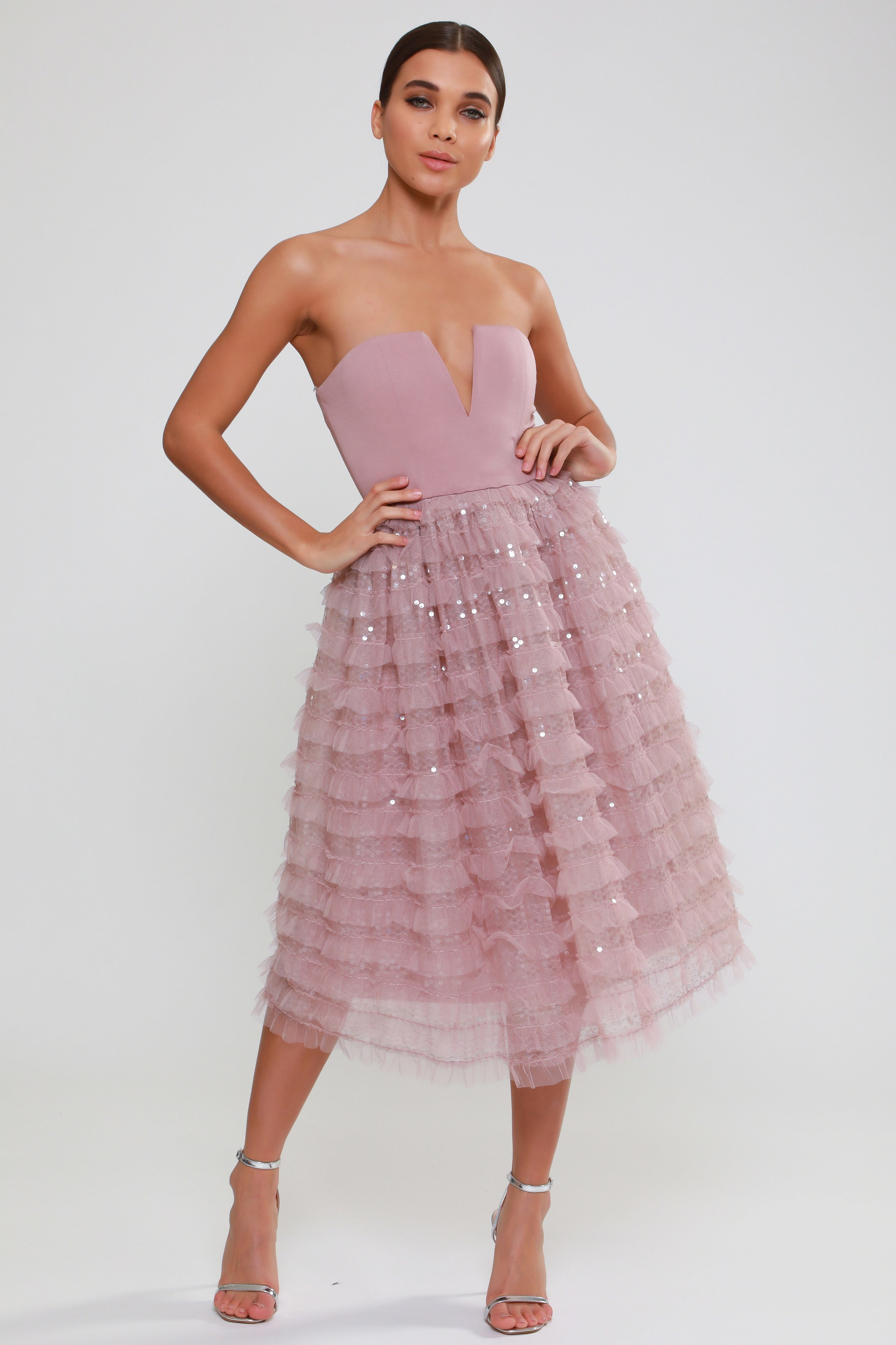 Sequin Detail Tulle  Prom Dress   £95.00