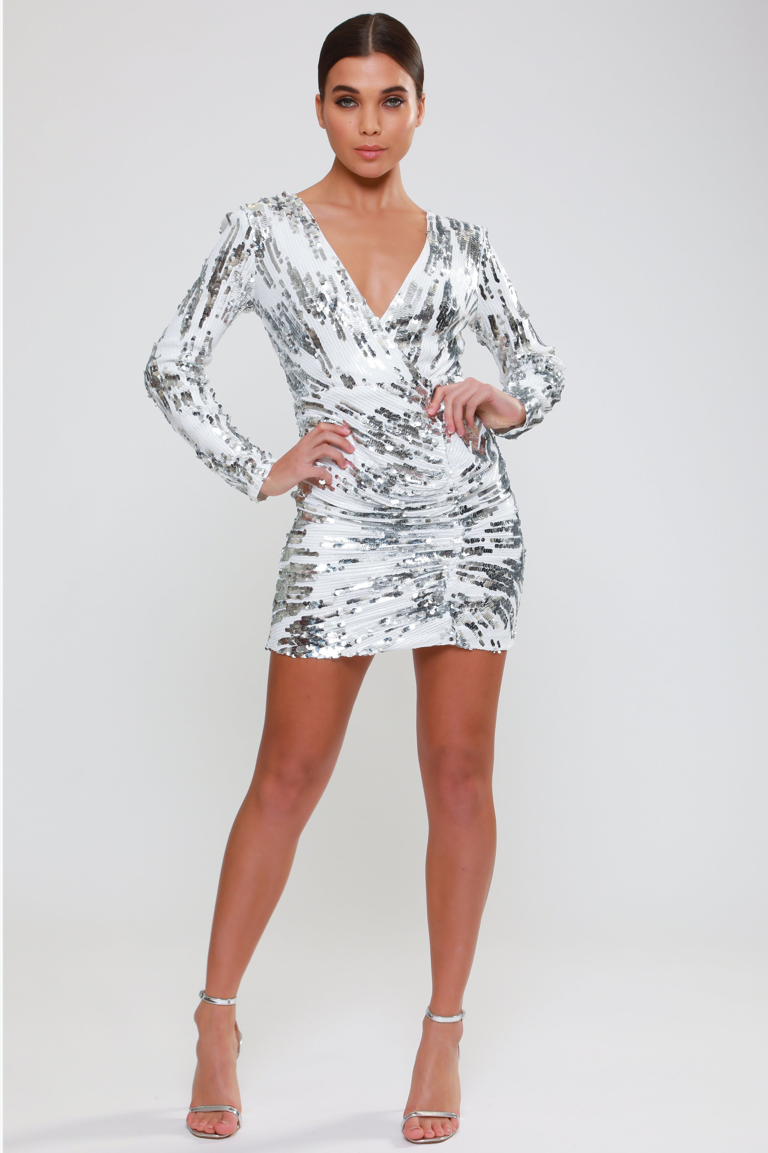Long Sleeve Lace  Back Sequin Dress   £78.00