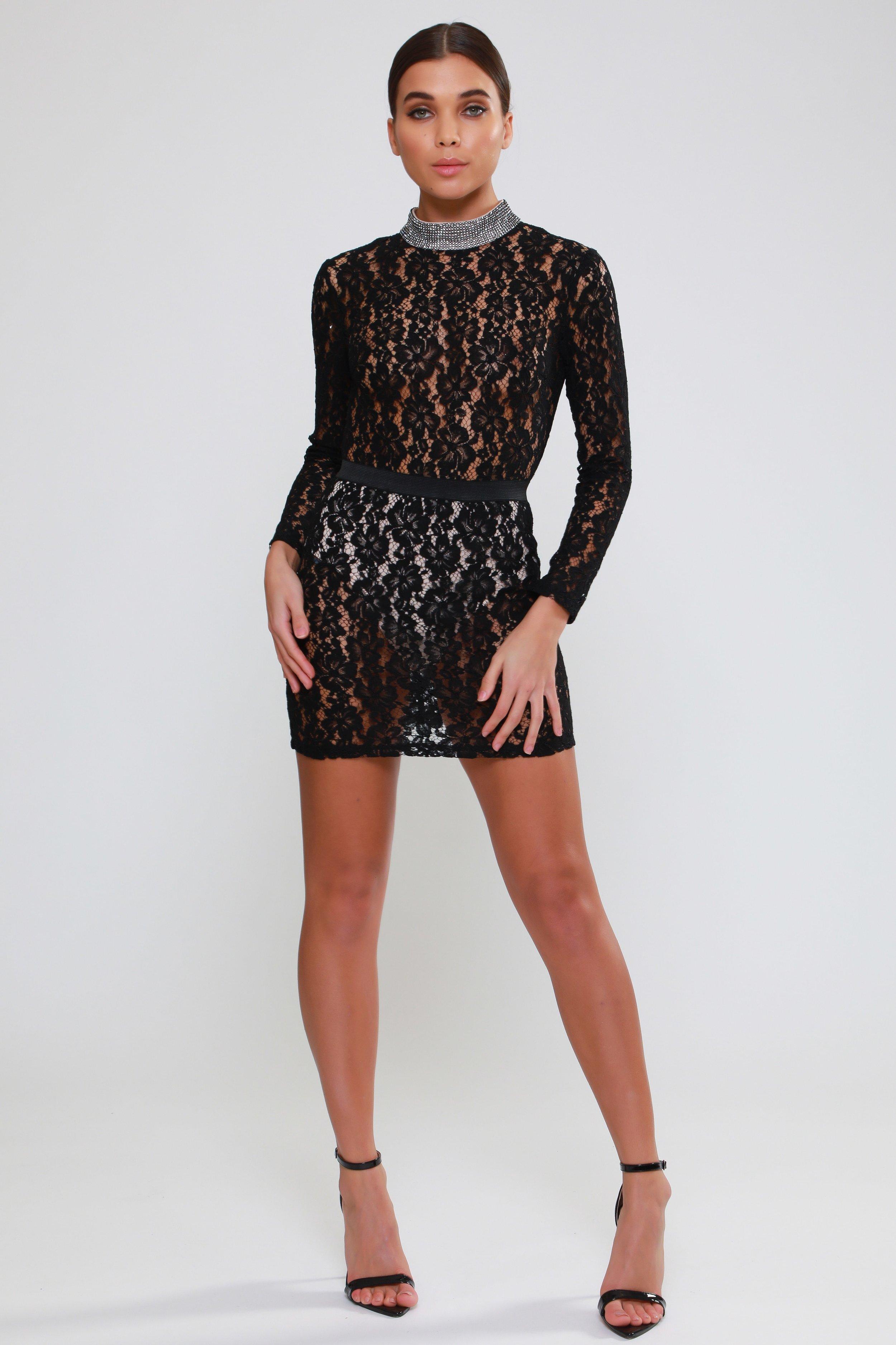 Diamante Neck  Trim Lace Dress   £70.00
