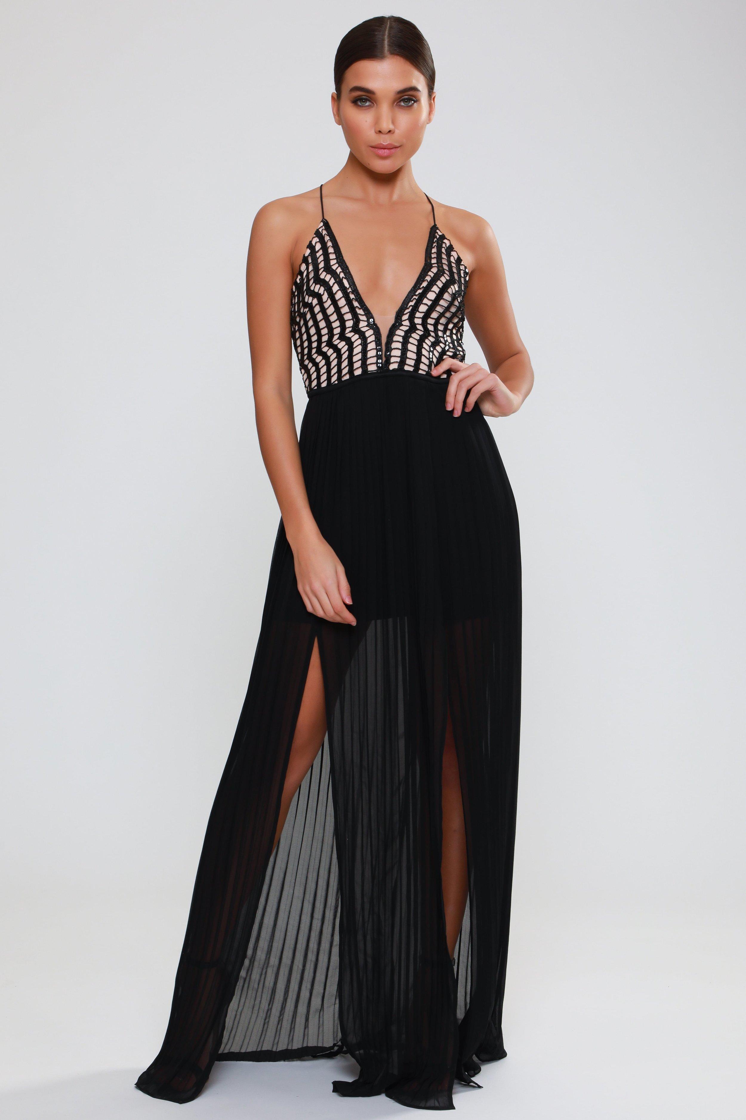 Sequin Plunge Double  Split Maxi Dress   £72.00