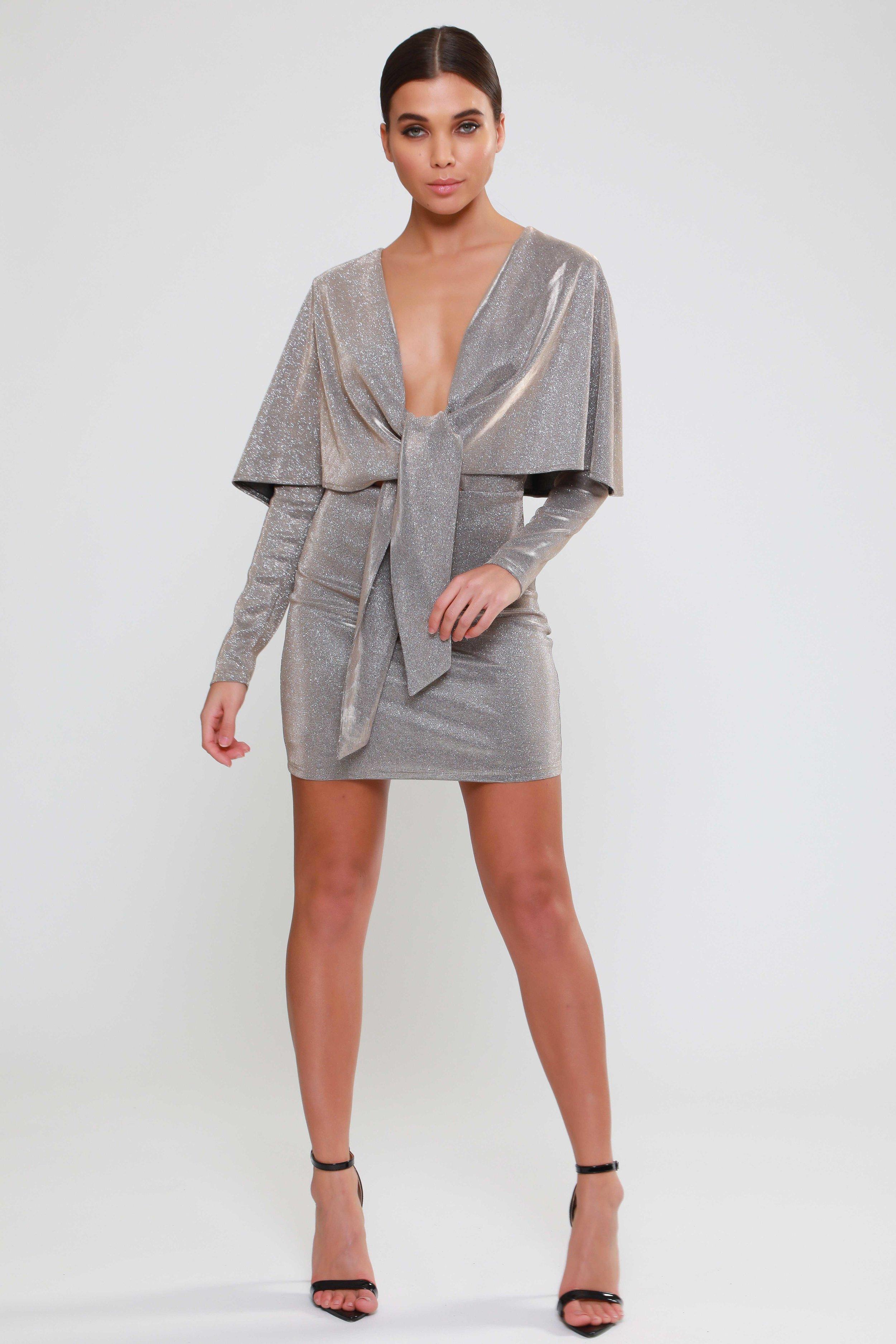 Tie Front Glitter  Cape Dress   £53.00