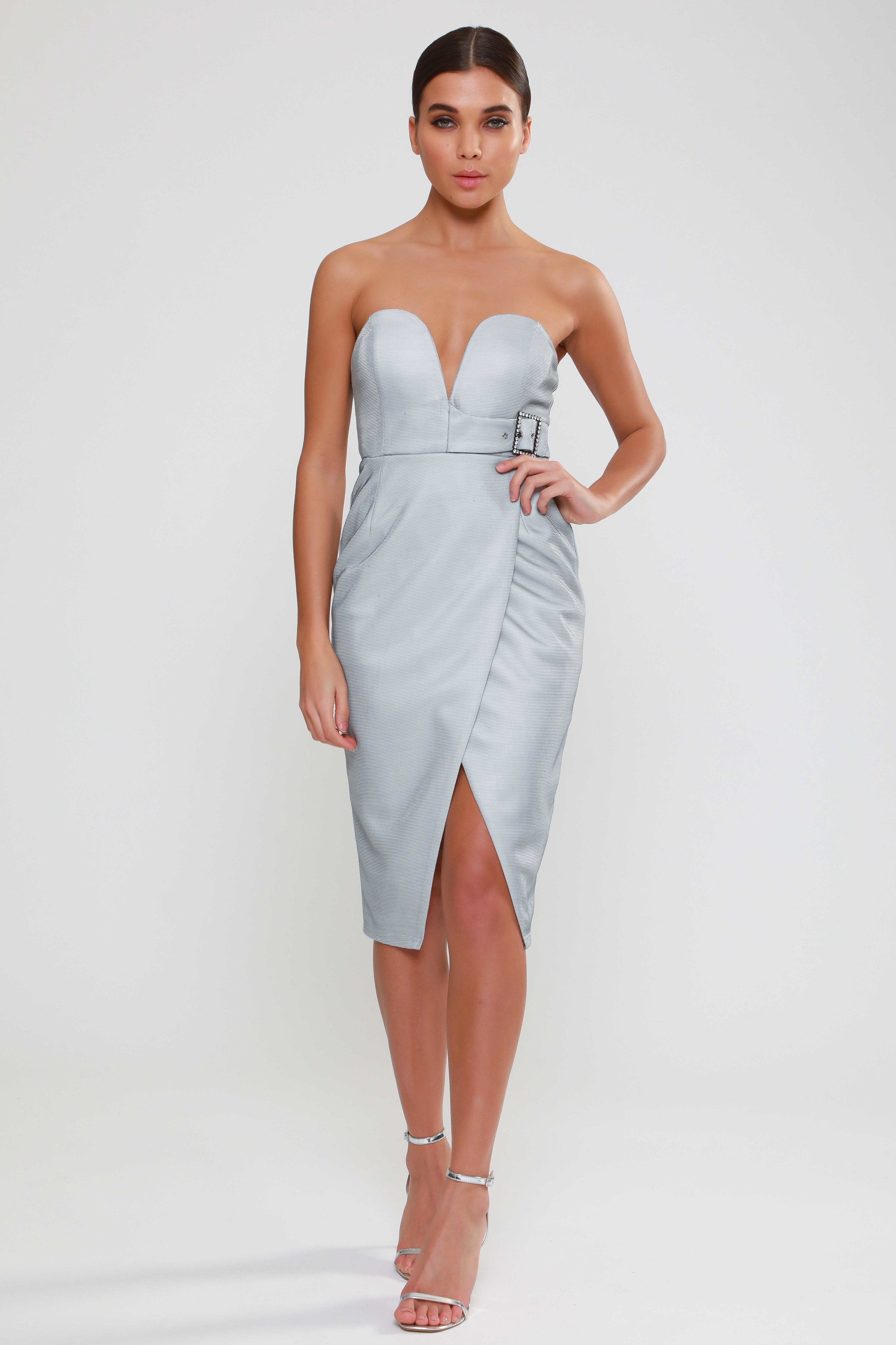 Buckle Wrap Front  Midi Dress   £75.00