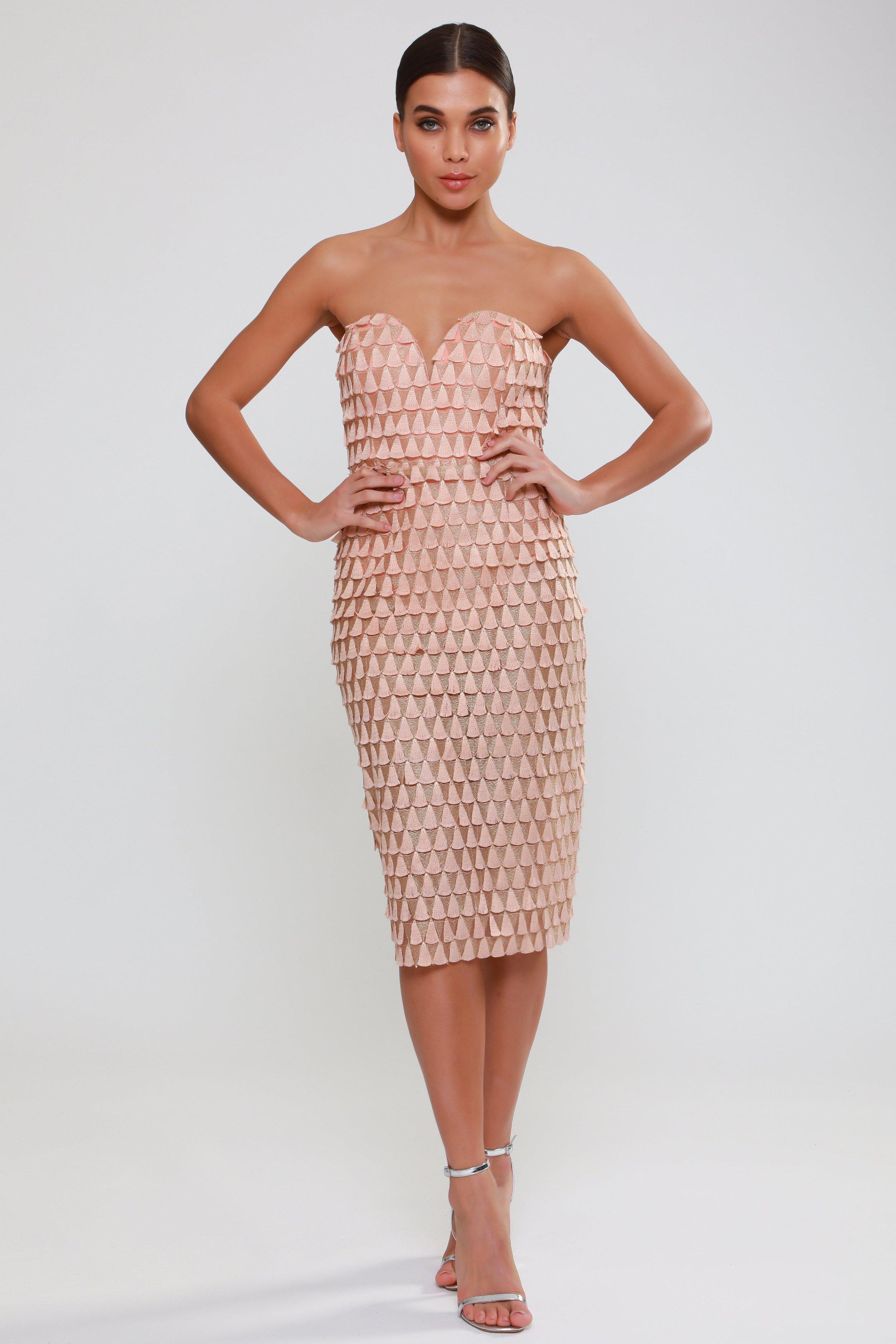 Textured Fan Tulle  Bandeau Dress   £90.00