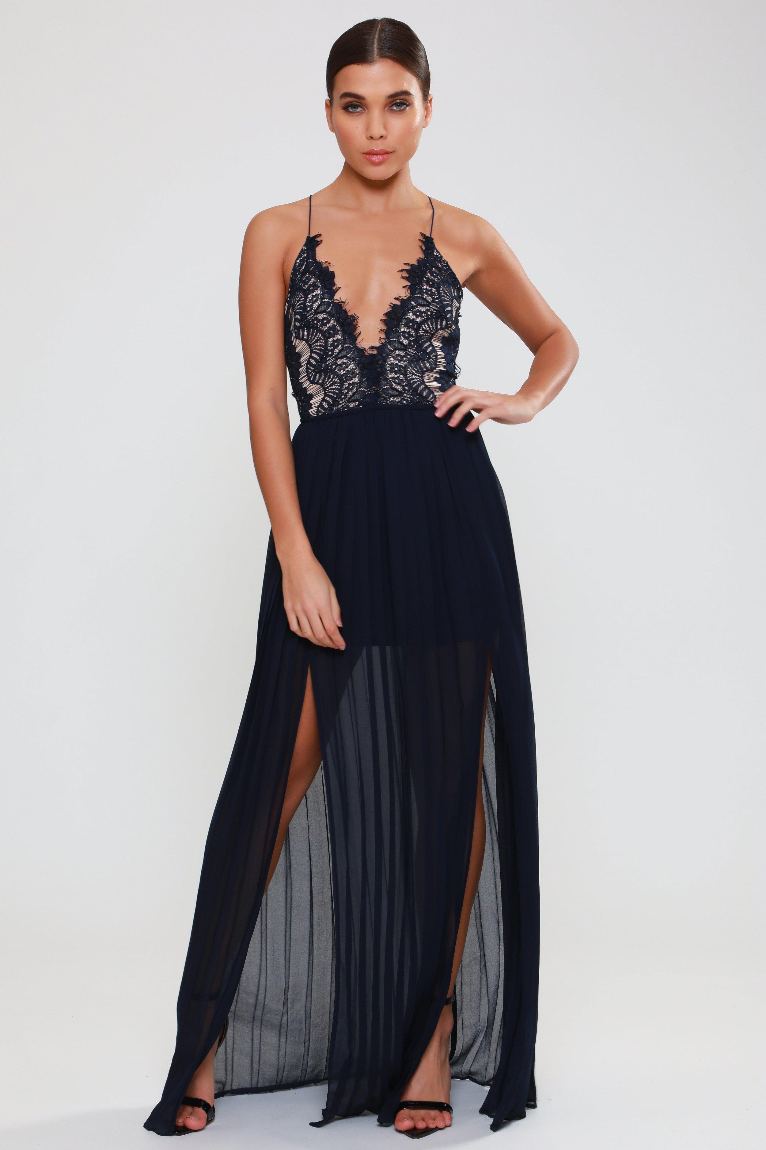 Eyelash Lace Double  Split Maxi Dress   £69.00