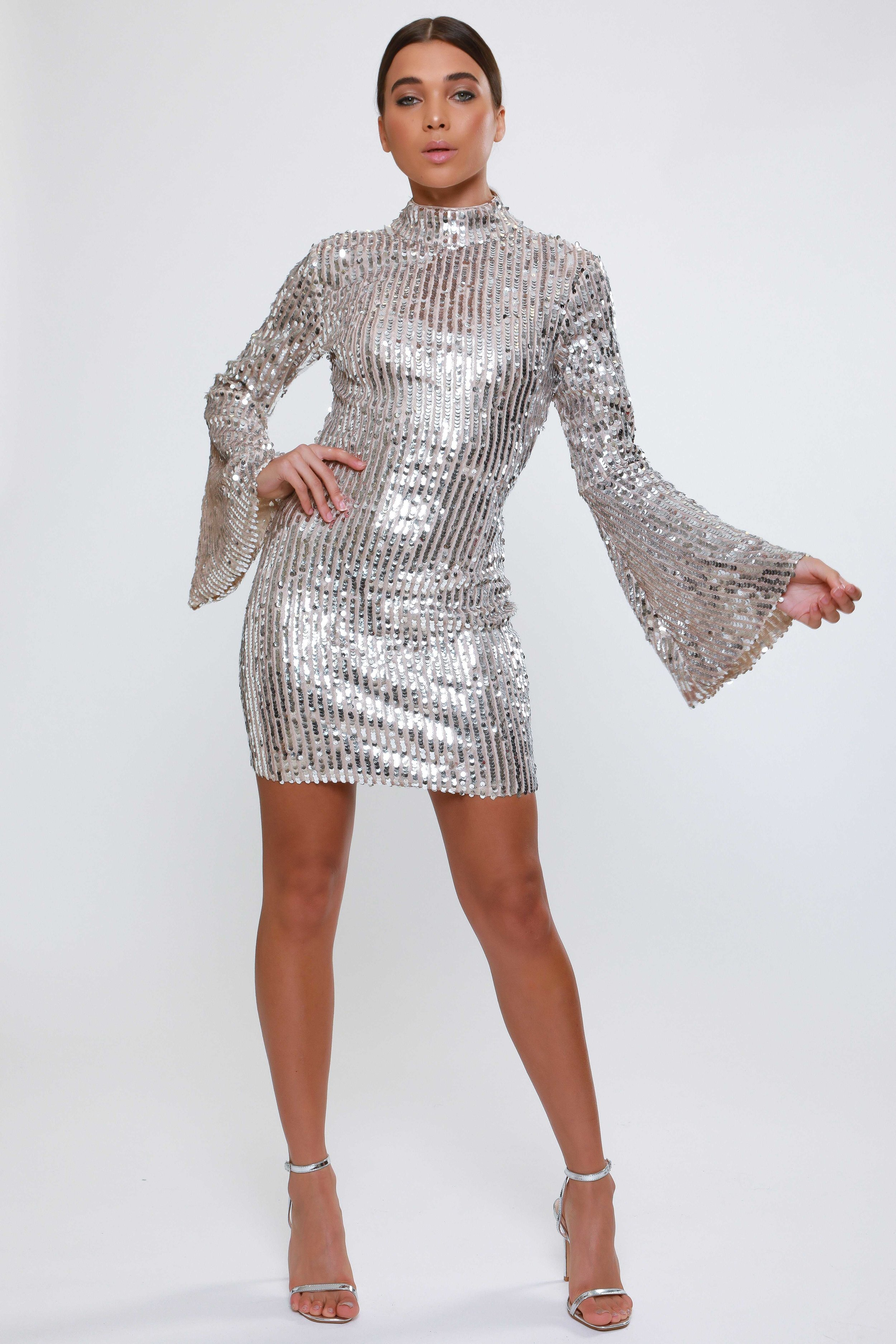 Sequin High Neck Mini Dress  with Flared Sleeves   £79.00