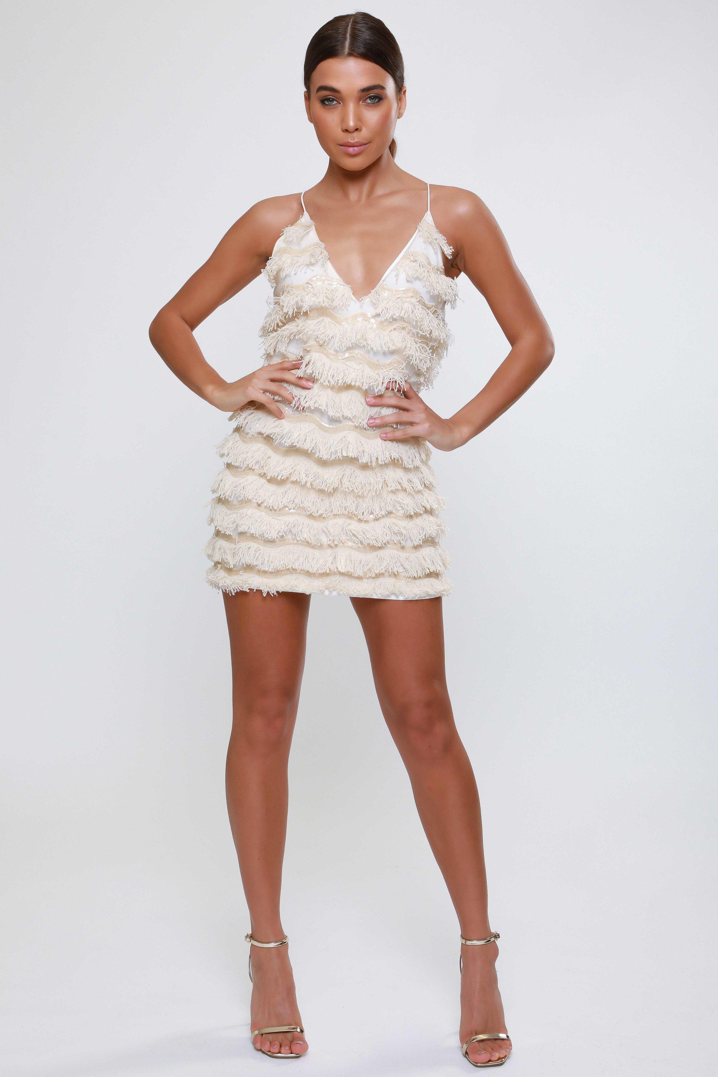Fringe Detail Plunge  Mini Dress   £115.00