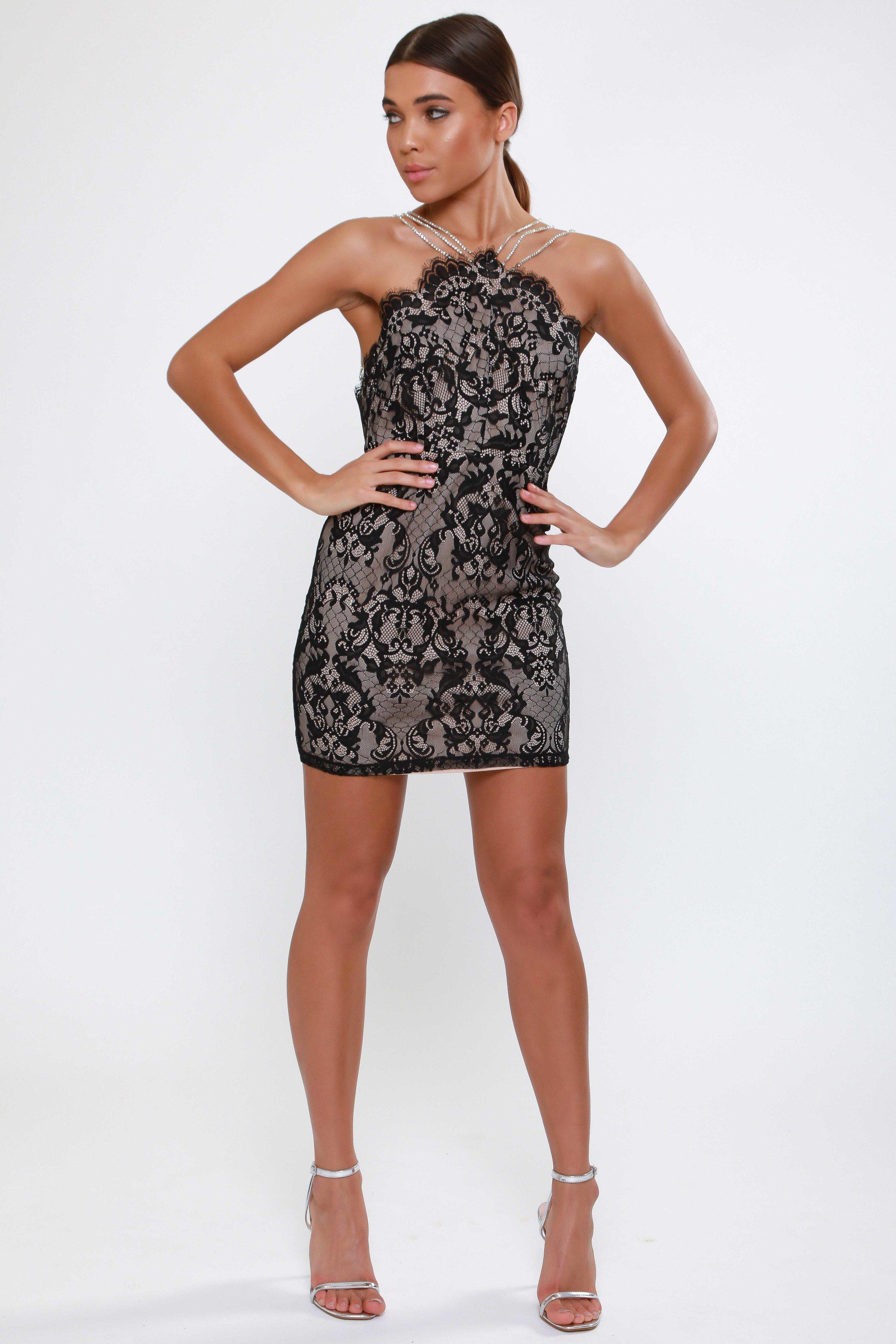 Eyelash Lace Mini Dress  with Diamante Strap Detail   £62.00