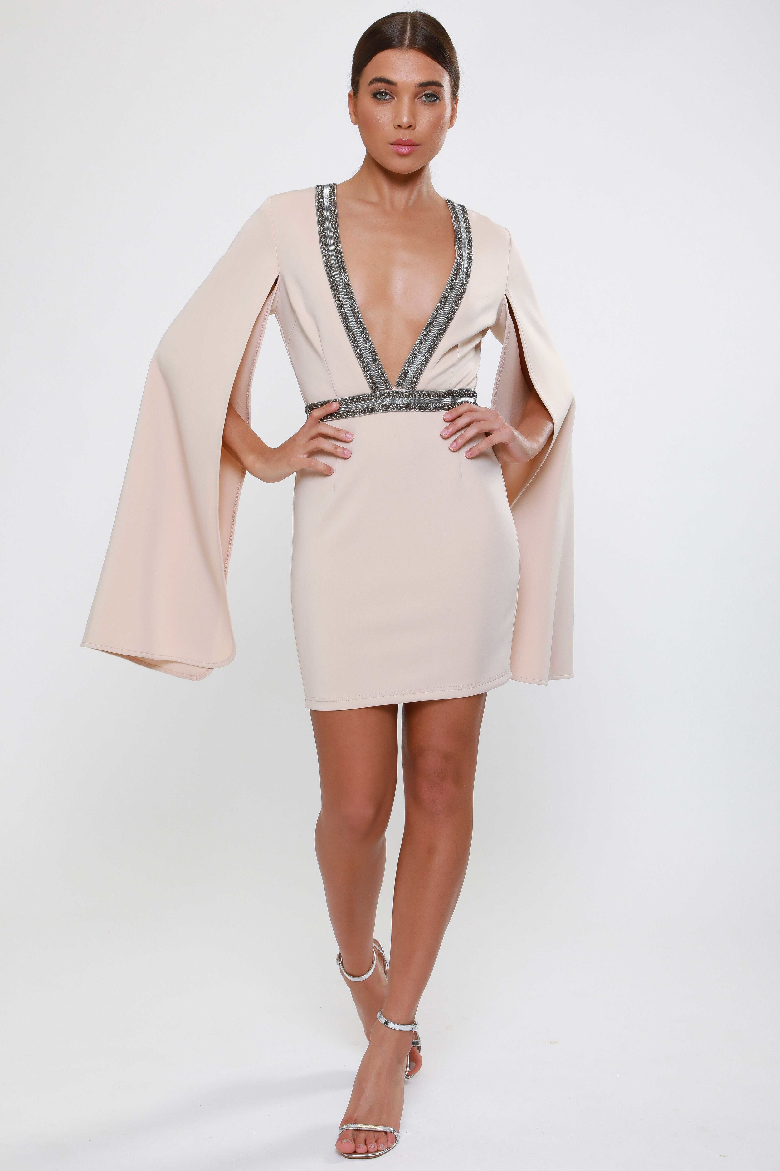 Embellished Plunge Split  Sleeve Mini Dress   £75.00