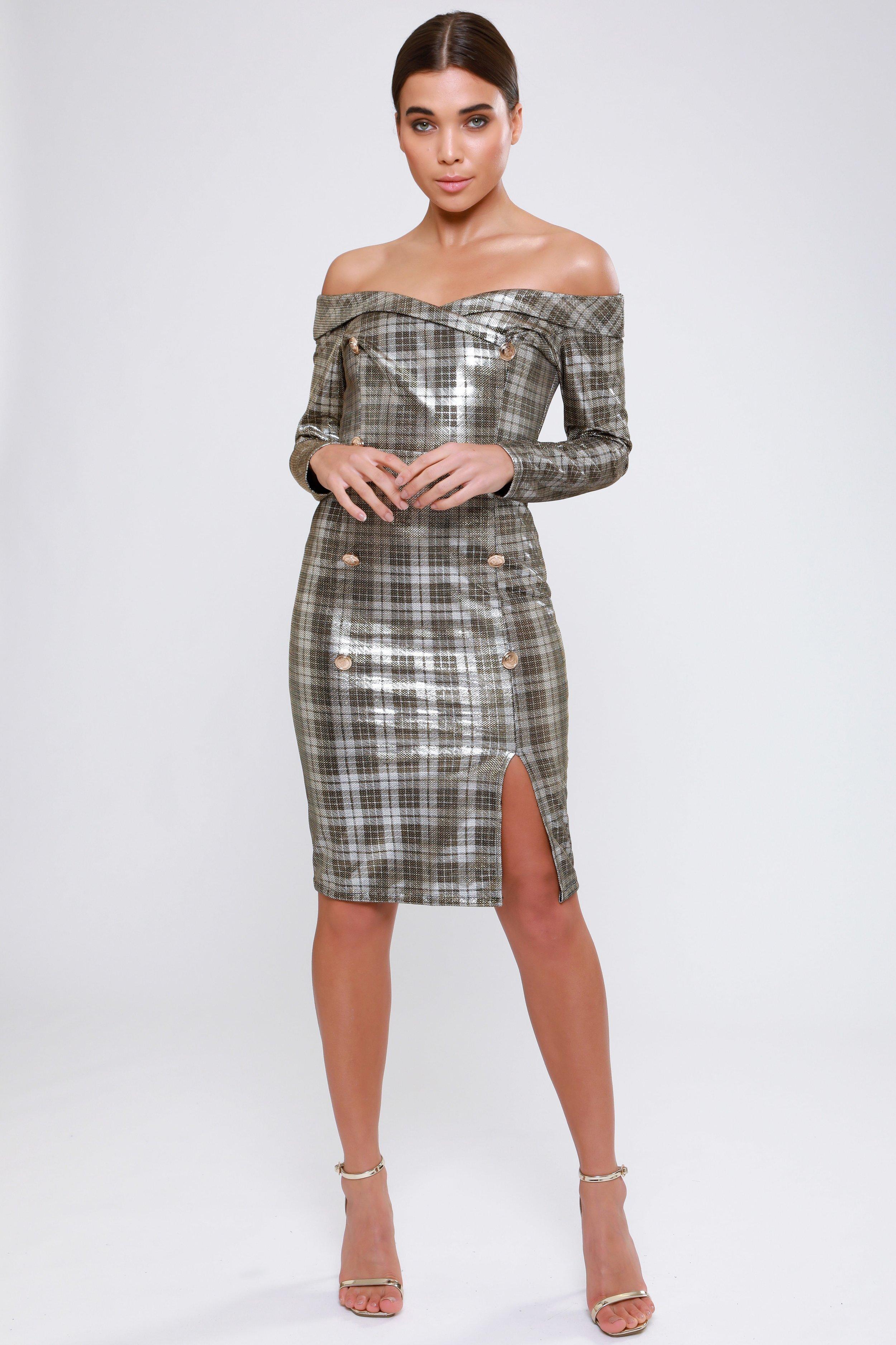 Metallic Check Bardot  Blazer Style Dress   £49.00