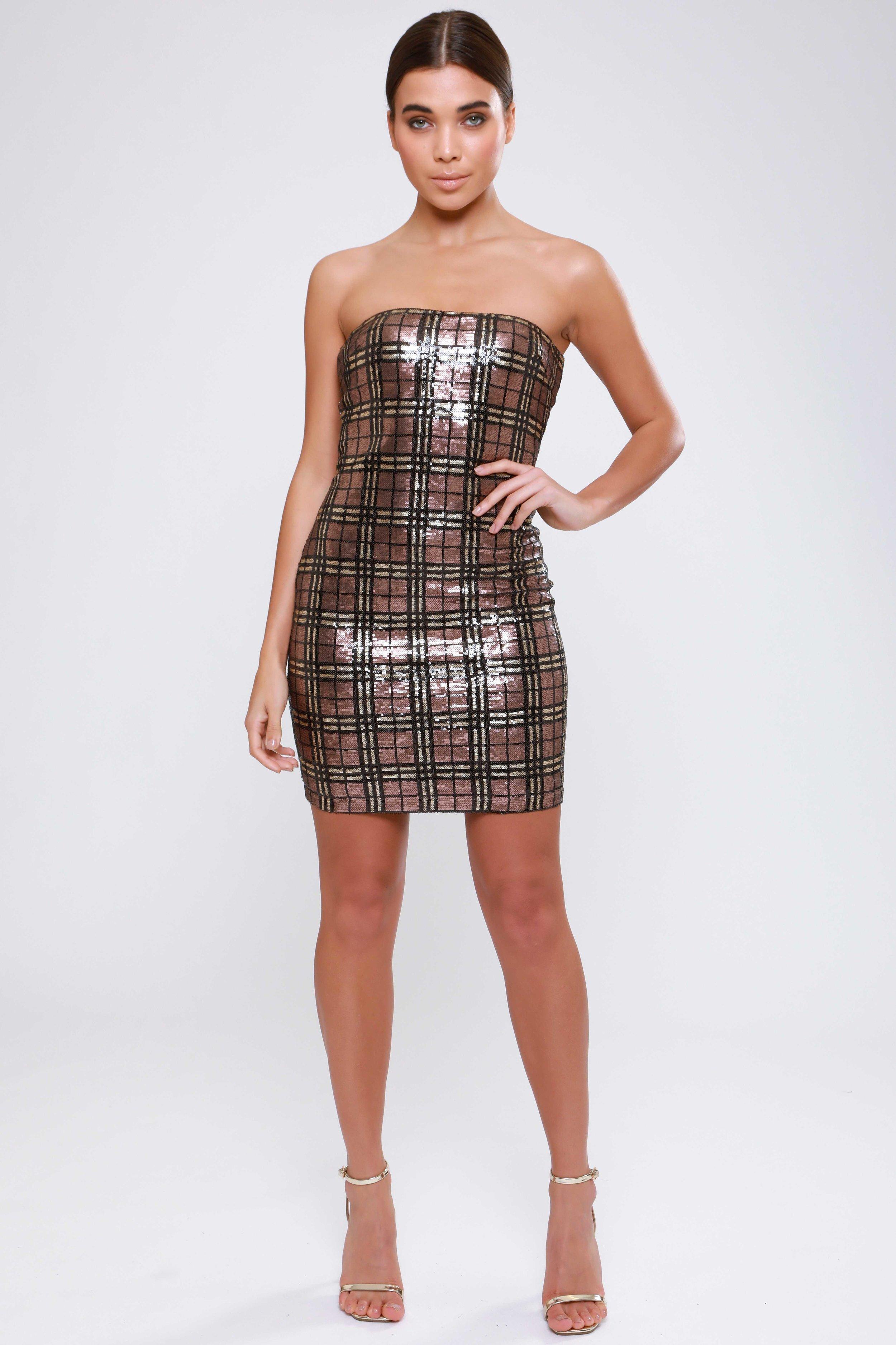Check Sequin Bandeau  Mini Dress   £45.00