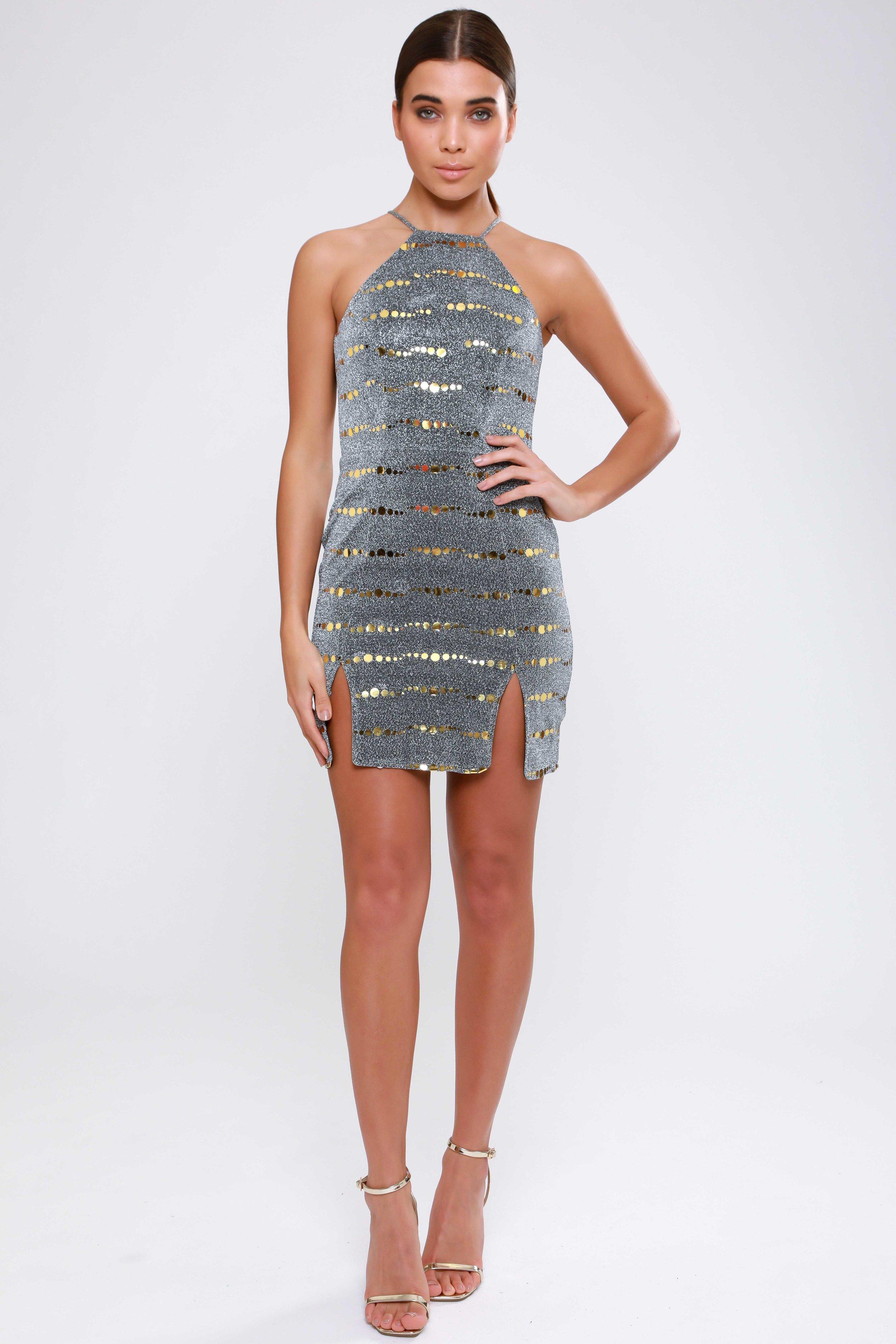 Metallic Double Split  Bodycon Dress   £42.00