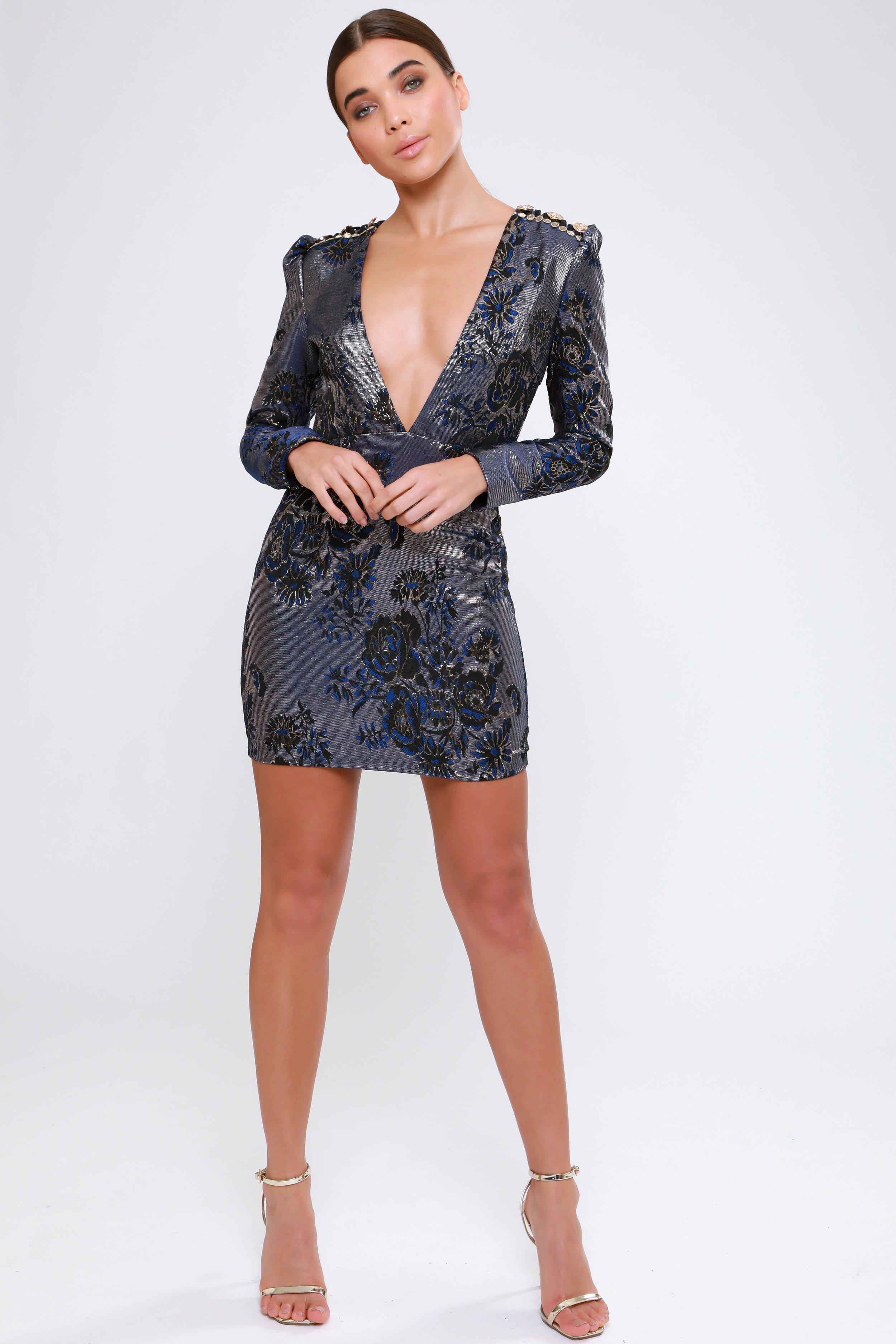 Metallic Jacquard  Plunge Dress   £75.00