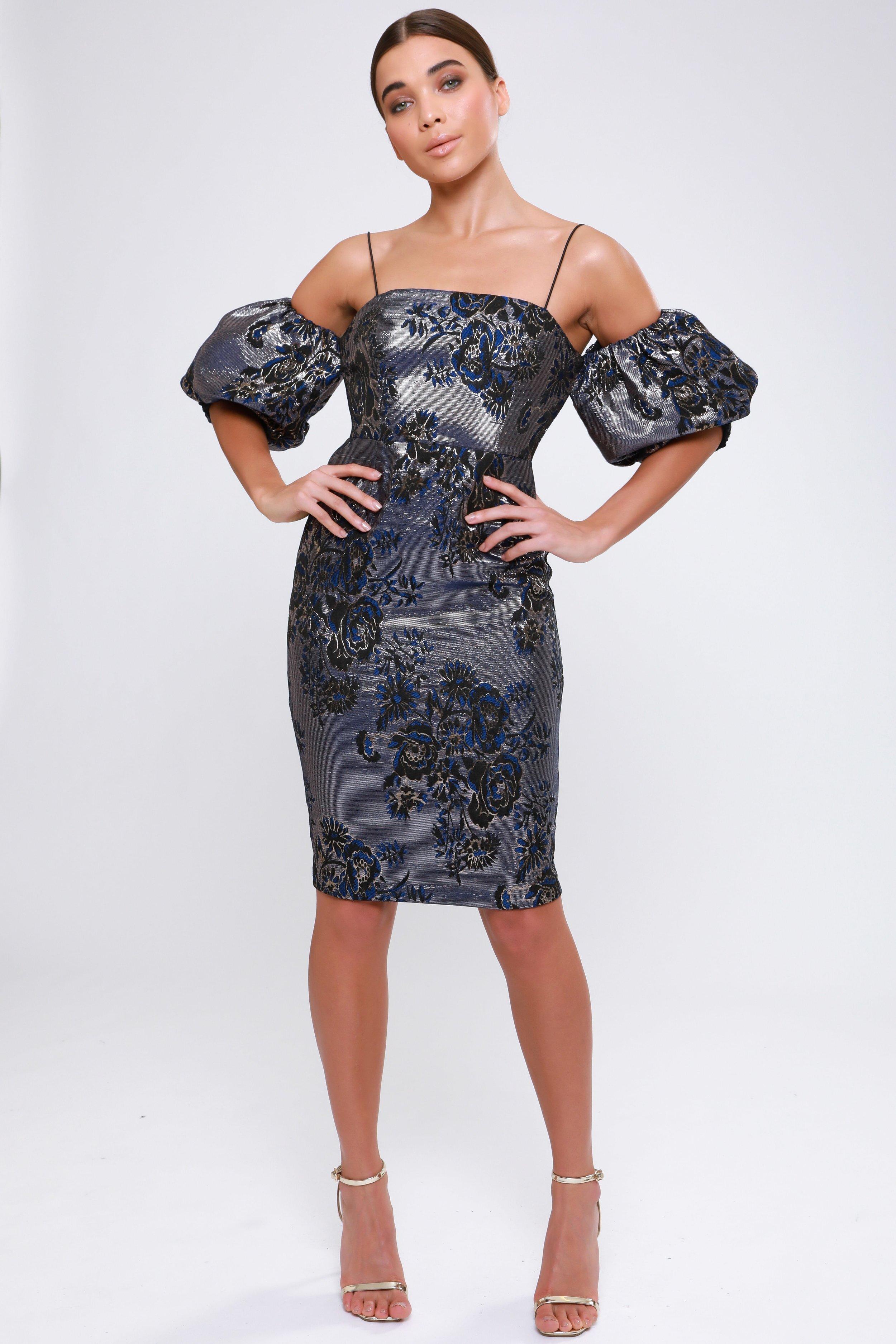Metallic Jacquard  Puff Sleeve Midi Dress   £75.00