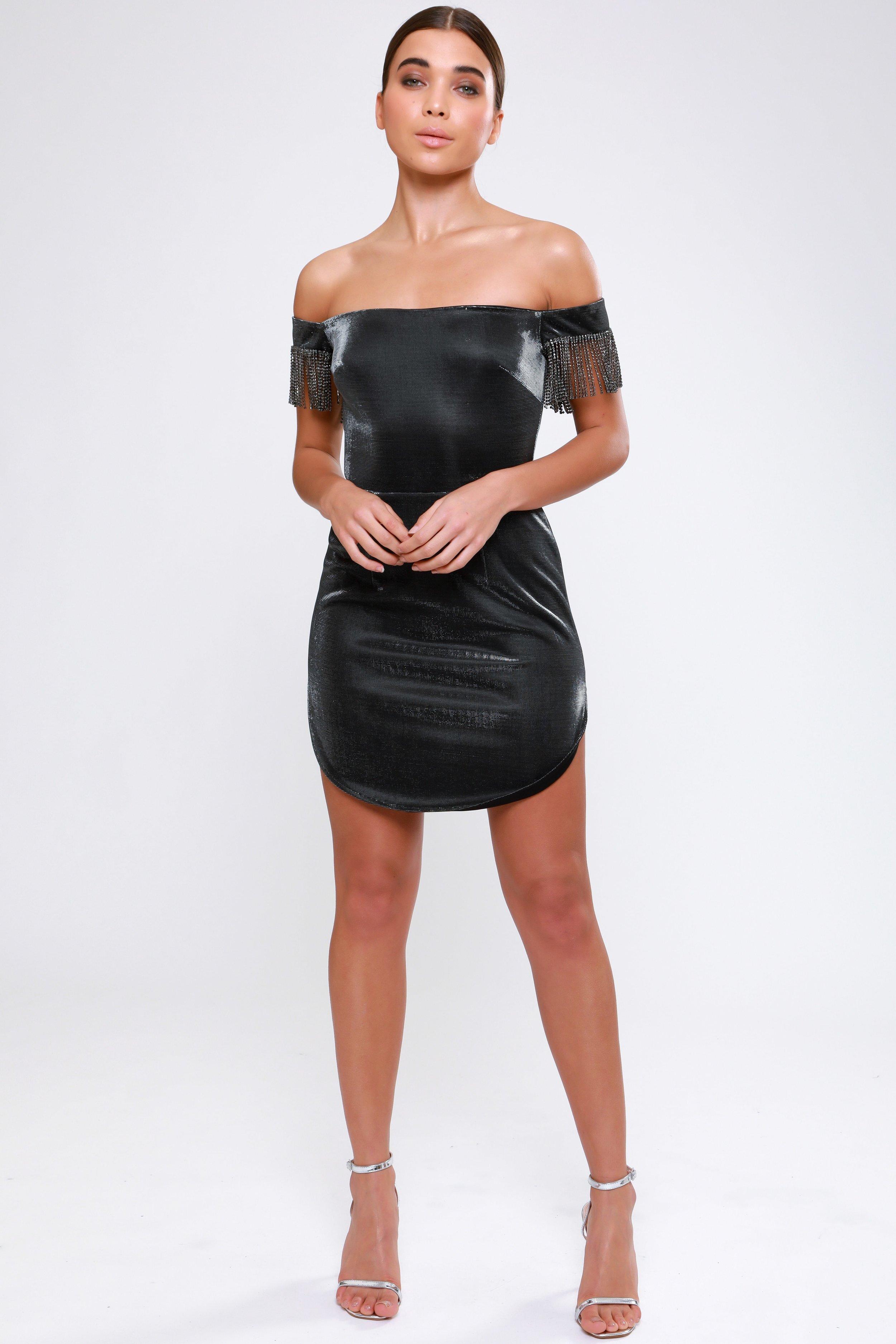 Metallic Curved Hem Mini Dress - £79.00