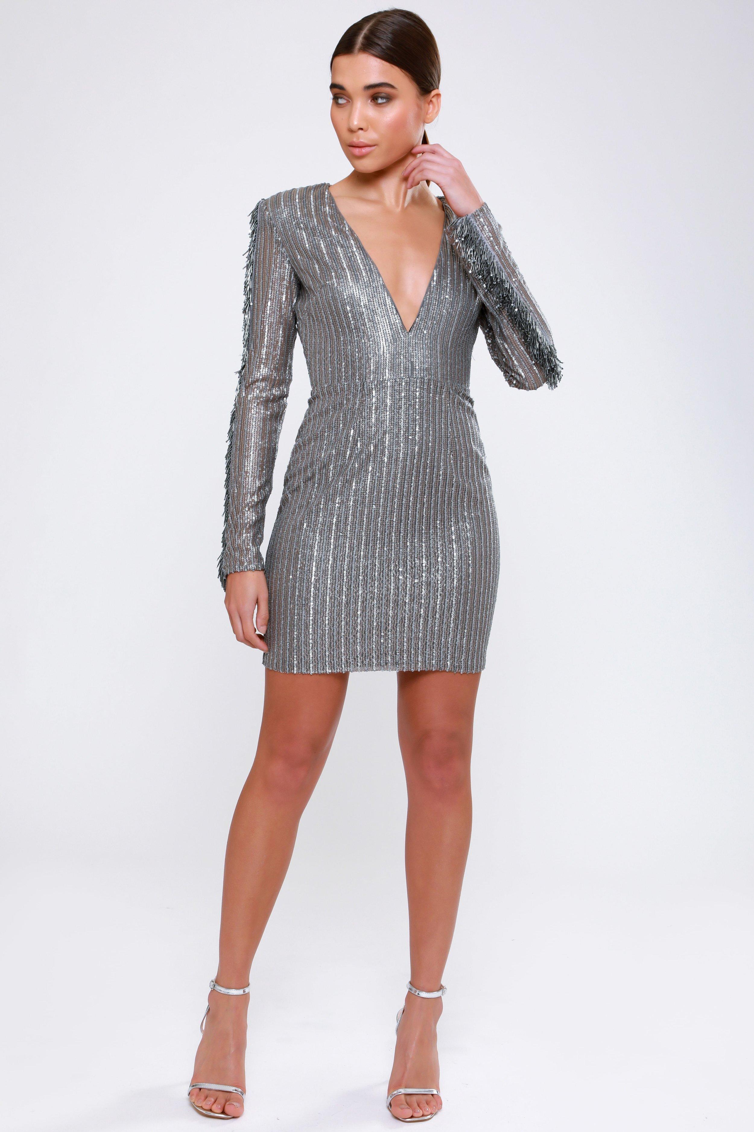Plunge Sequin  Mini Dress   £79.00