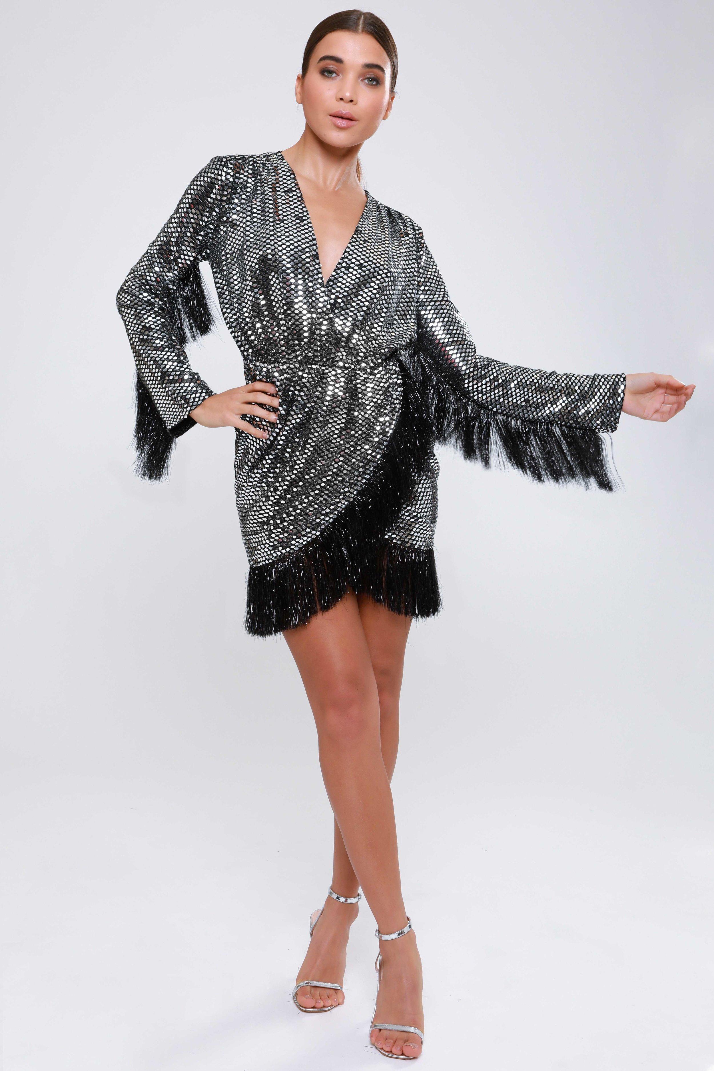 Mirrored Metallic  Wrap Dress   £75.00