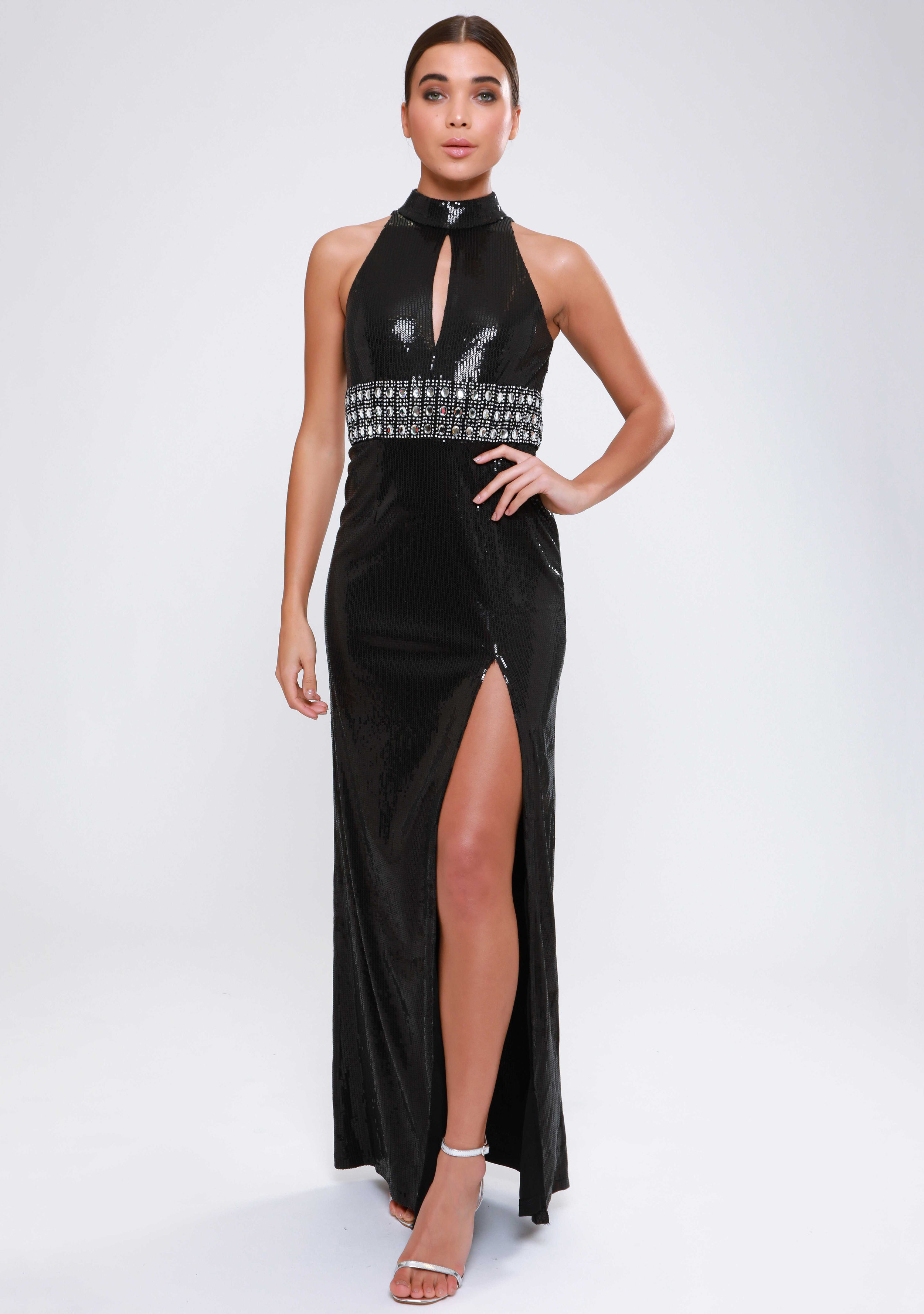 Sequin Maxi Dress with  Embellished Waist   £100.00