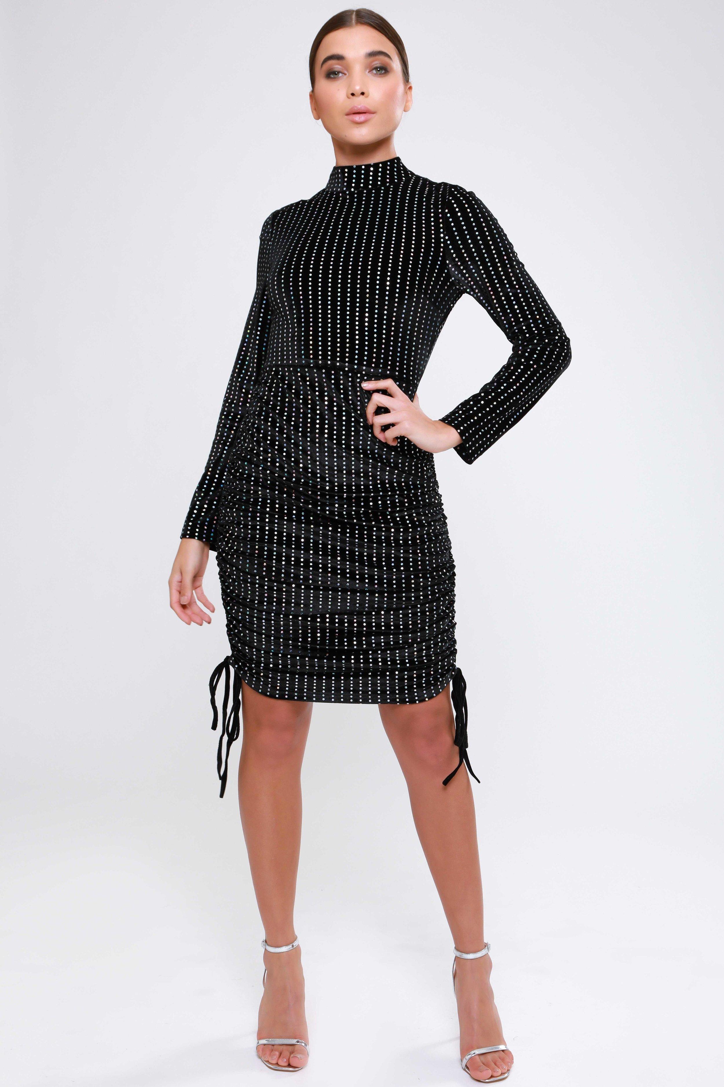 Metallic Mirrored Velvet  Midi Dress   £65.00