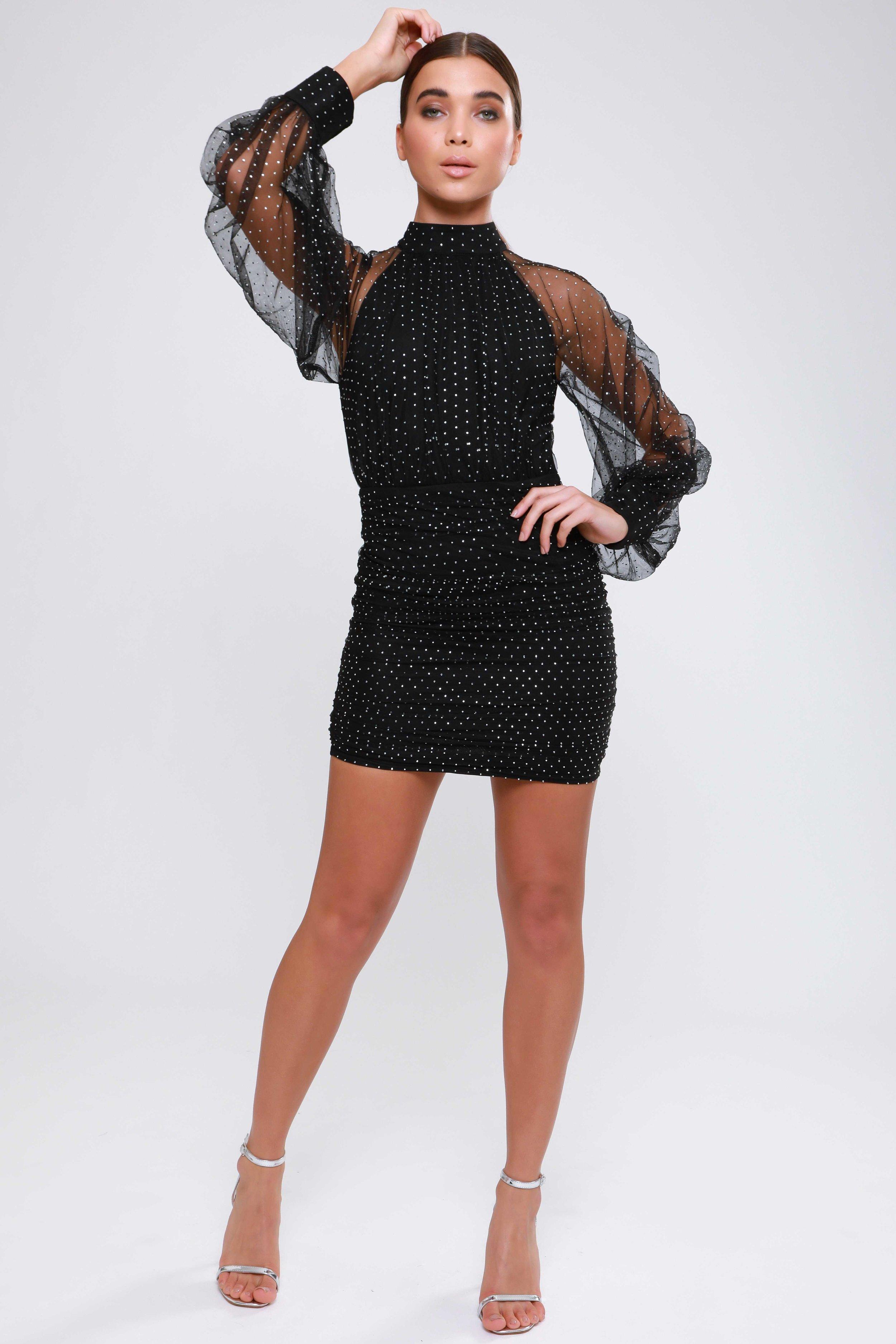 Diamante Mesh  Raglan Sleeve Dress   £65.00