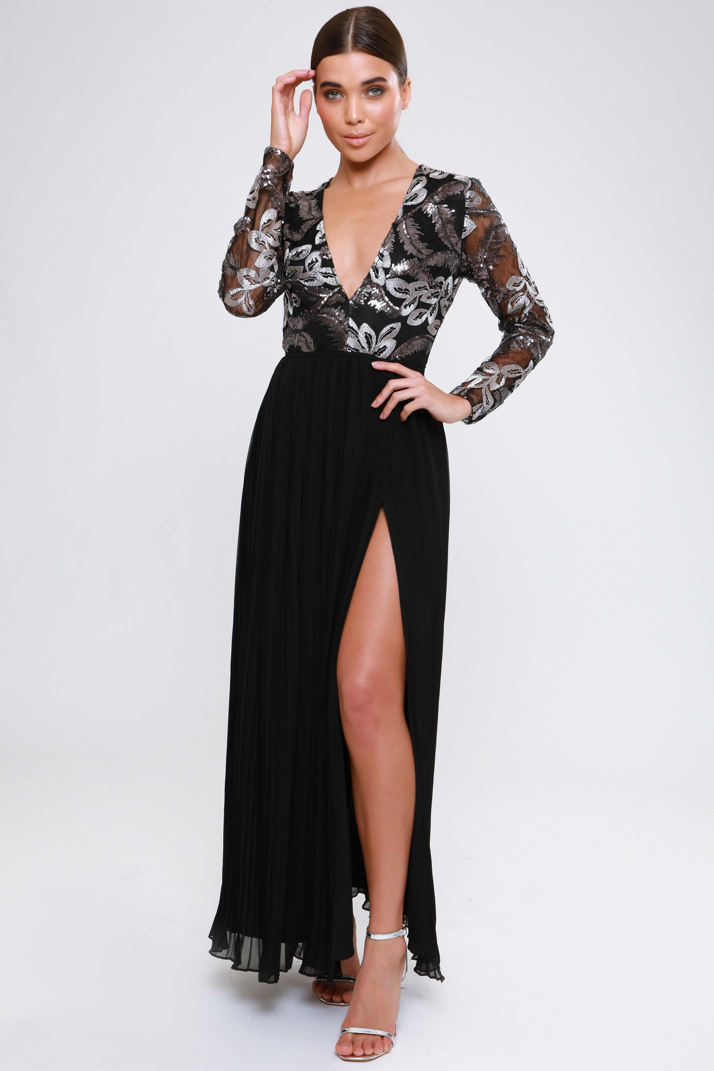 Plunge Pleated Maxi Dress  Thigh High Split   £69.00