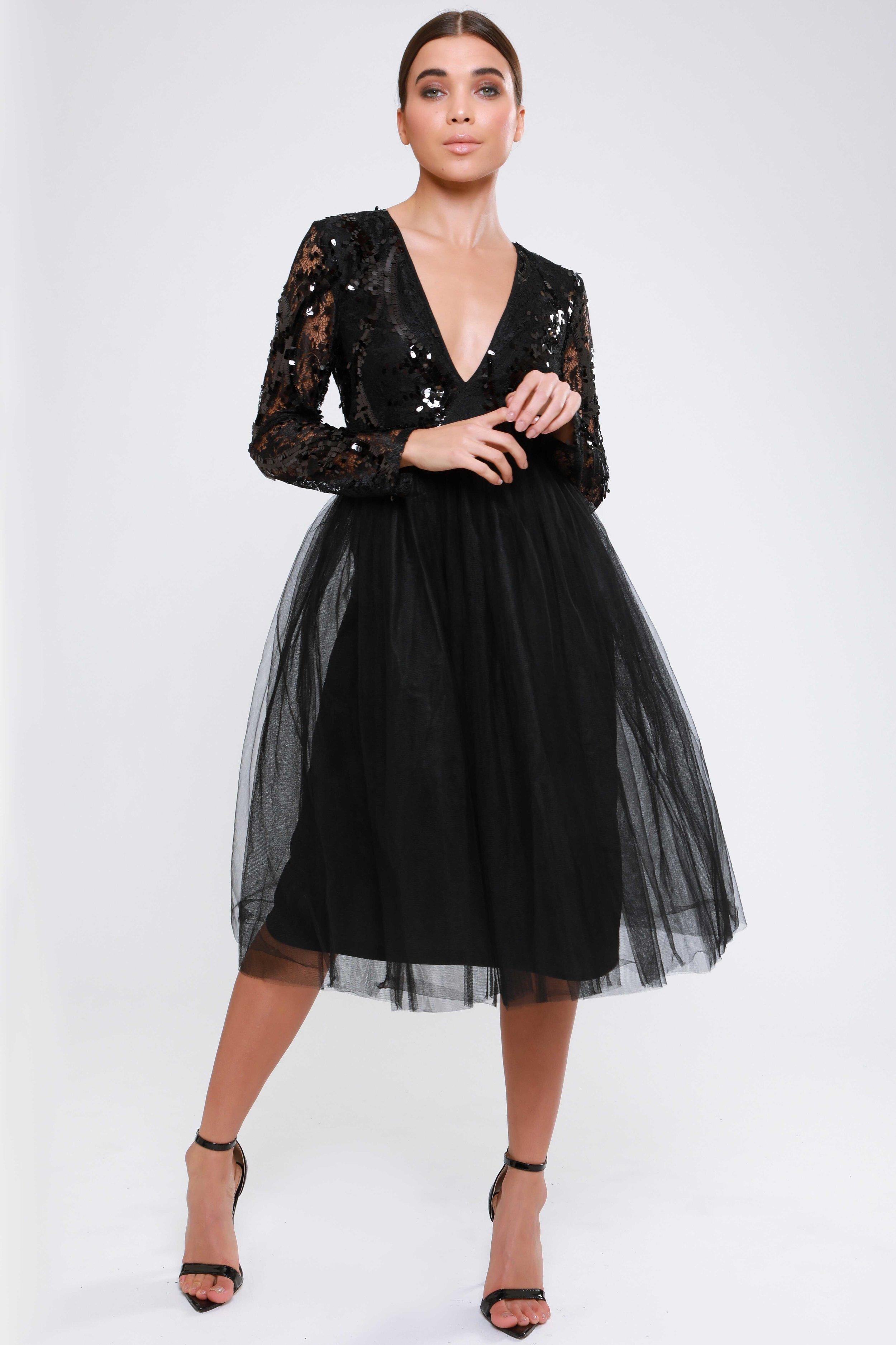 Plunge Sequin Lace  Tutu Dresses   £79.00