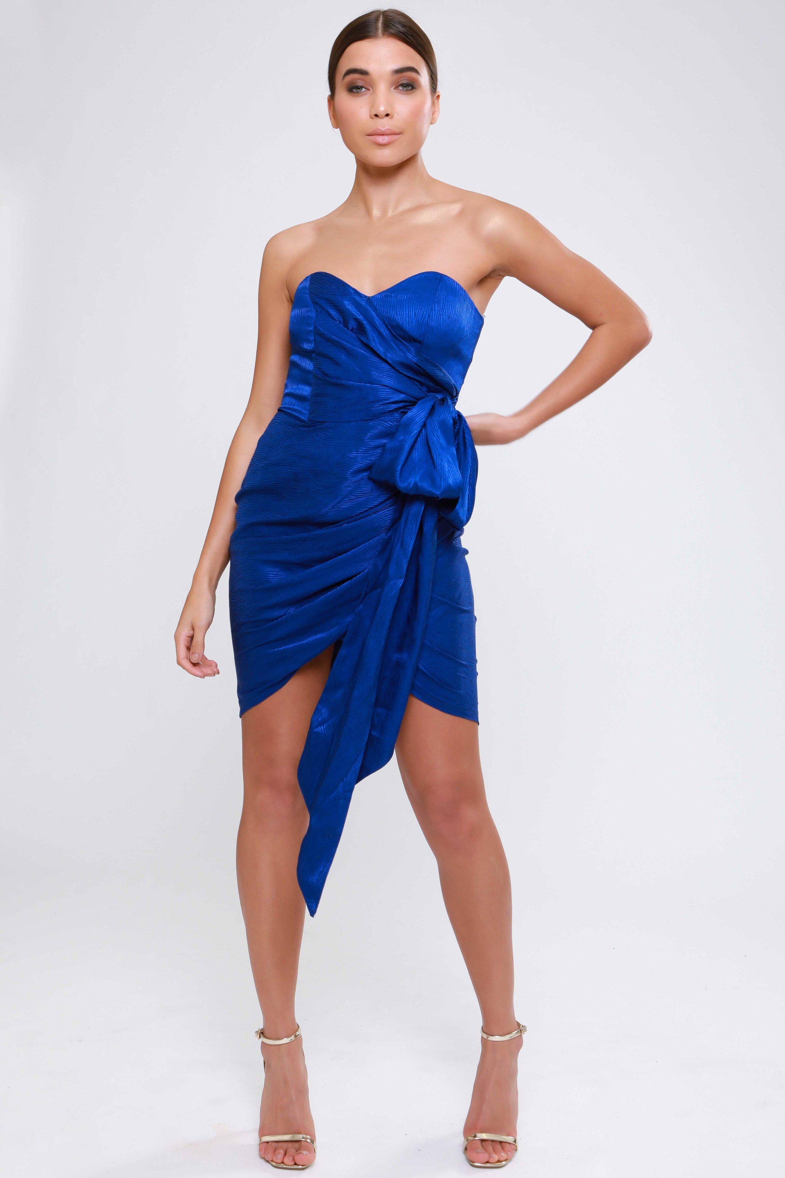 Satin Wrap Dress With  Statement Tie Detail   £56.00
