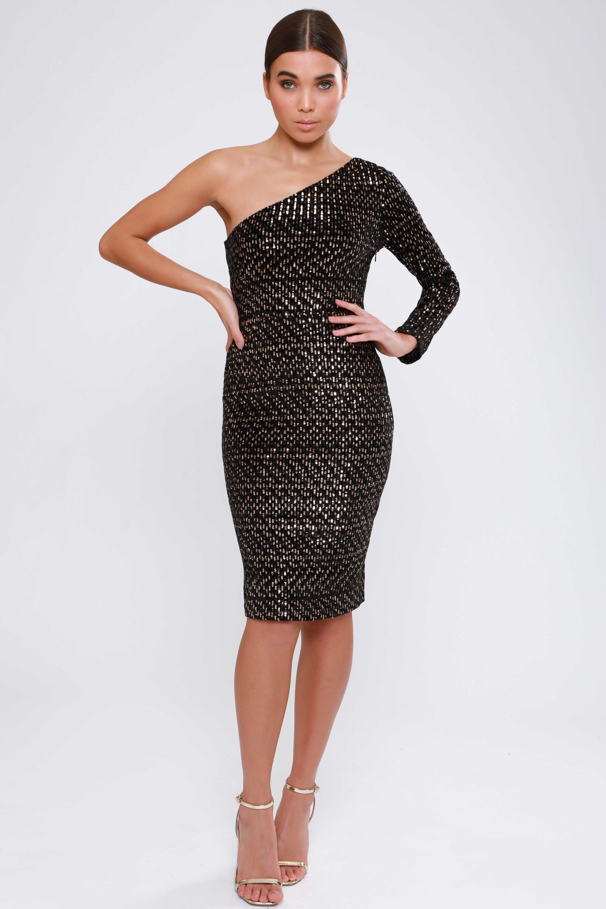 Velvet Sequin One Shoulder  Midi Dress   £60.00