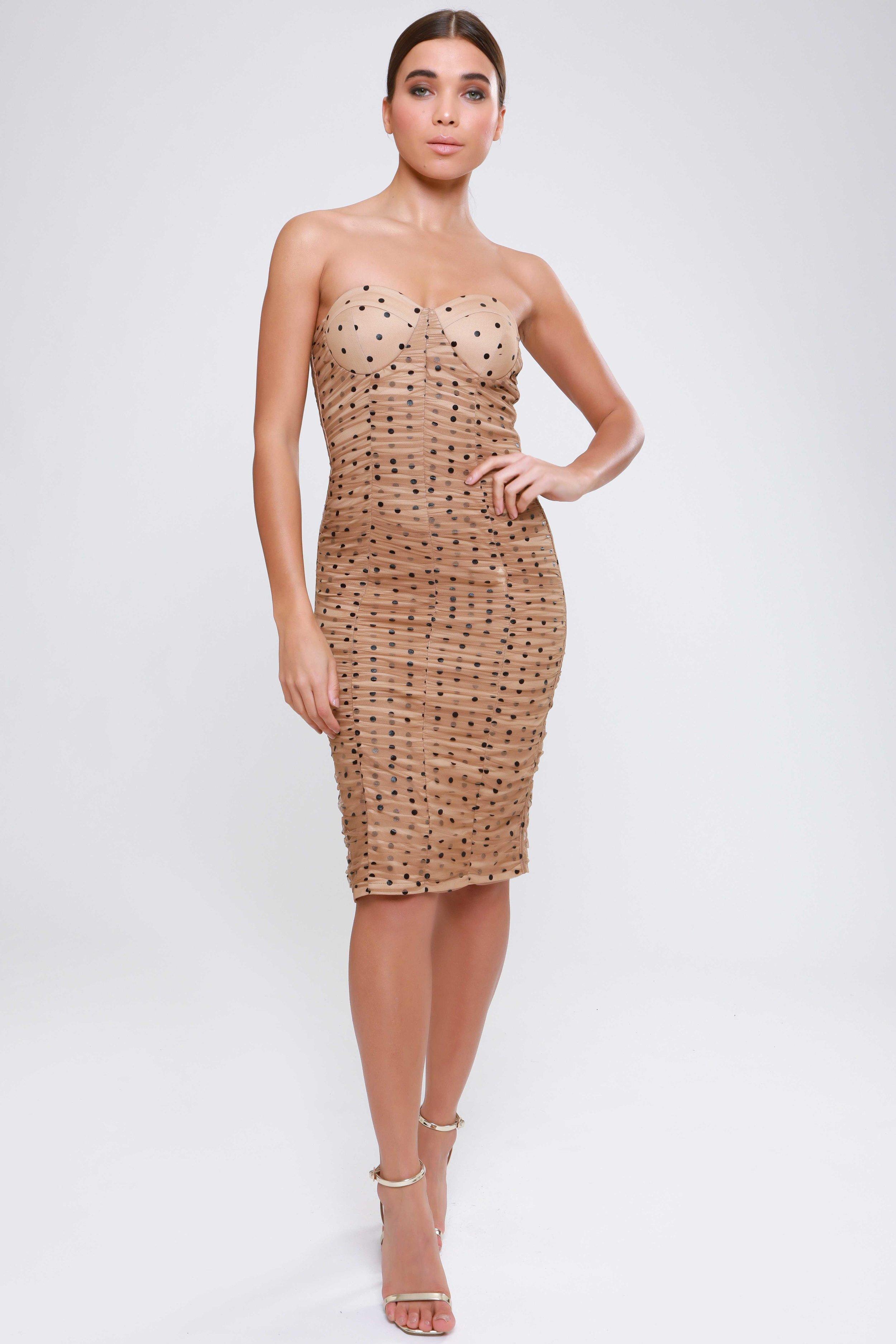 Polka Dot Mesh Rouching  Detail Midi Dress   £49.00