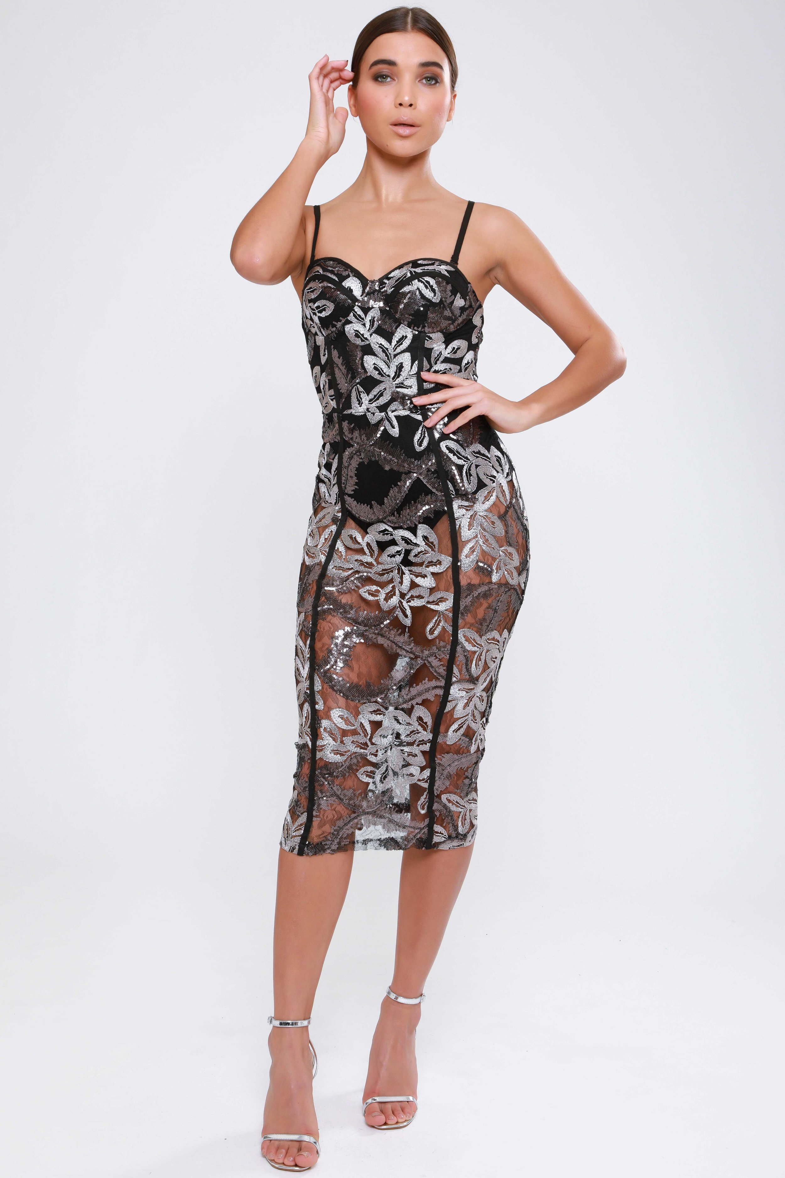 Embroidered Sequin Mesh  Midi Dress   £75.00