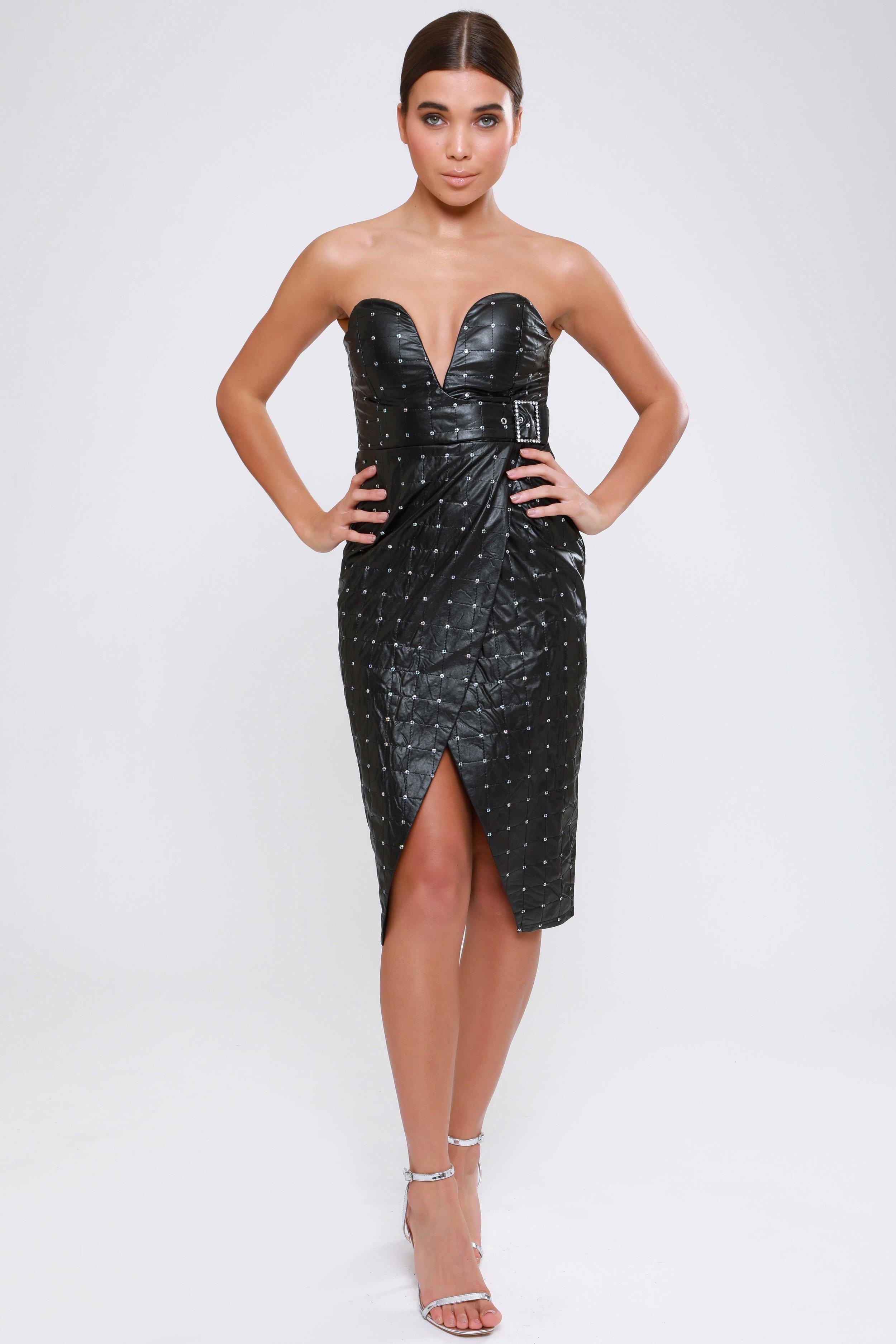 Sequin PU Sweetheart  Wrap Dress   £79.00