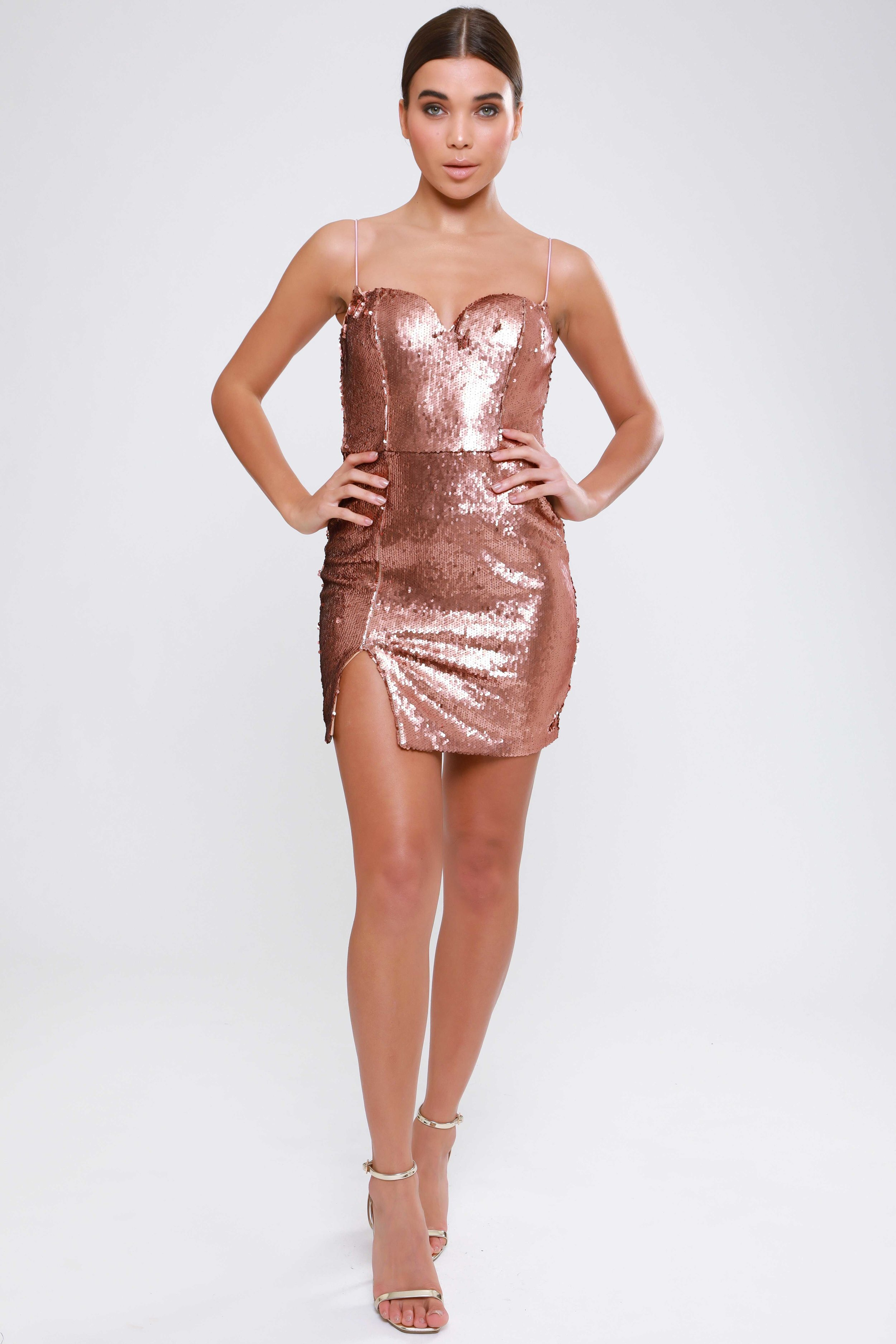 Matte Copper Sequin  Bodycon Dress   £55.00