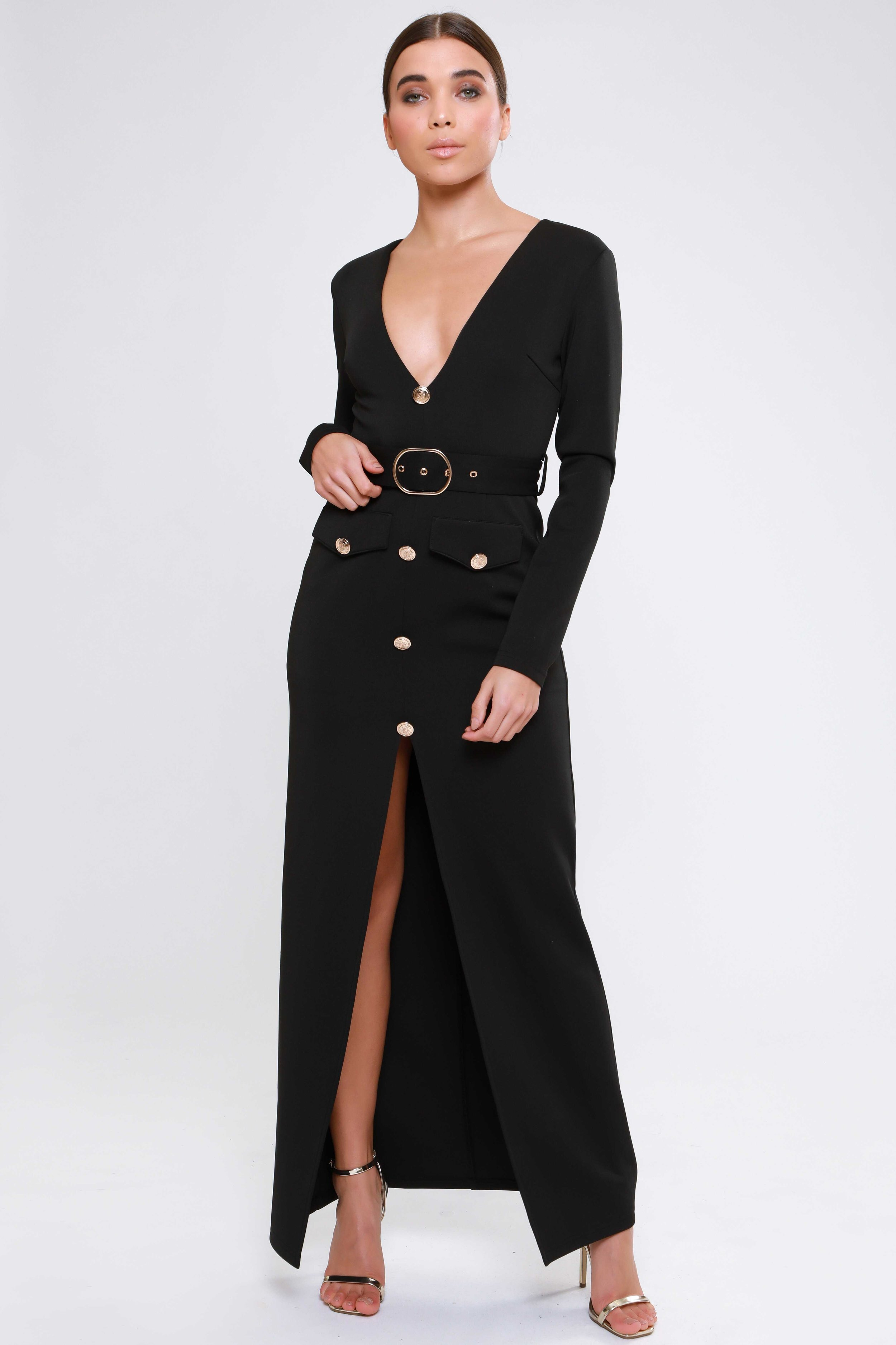 Belted Plunge  Maxi Dress   £69.00