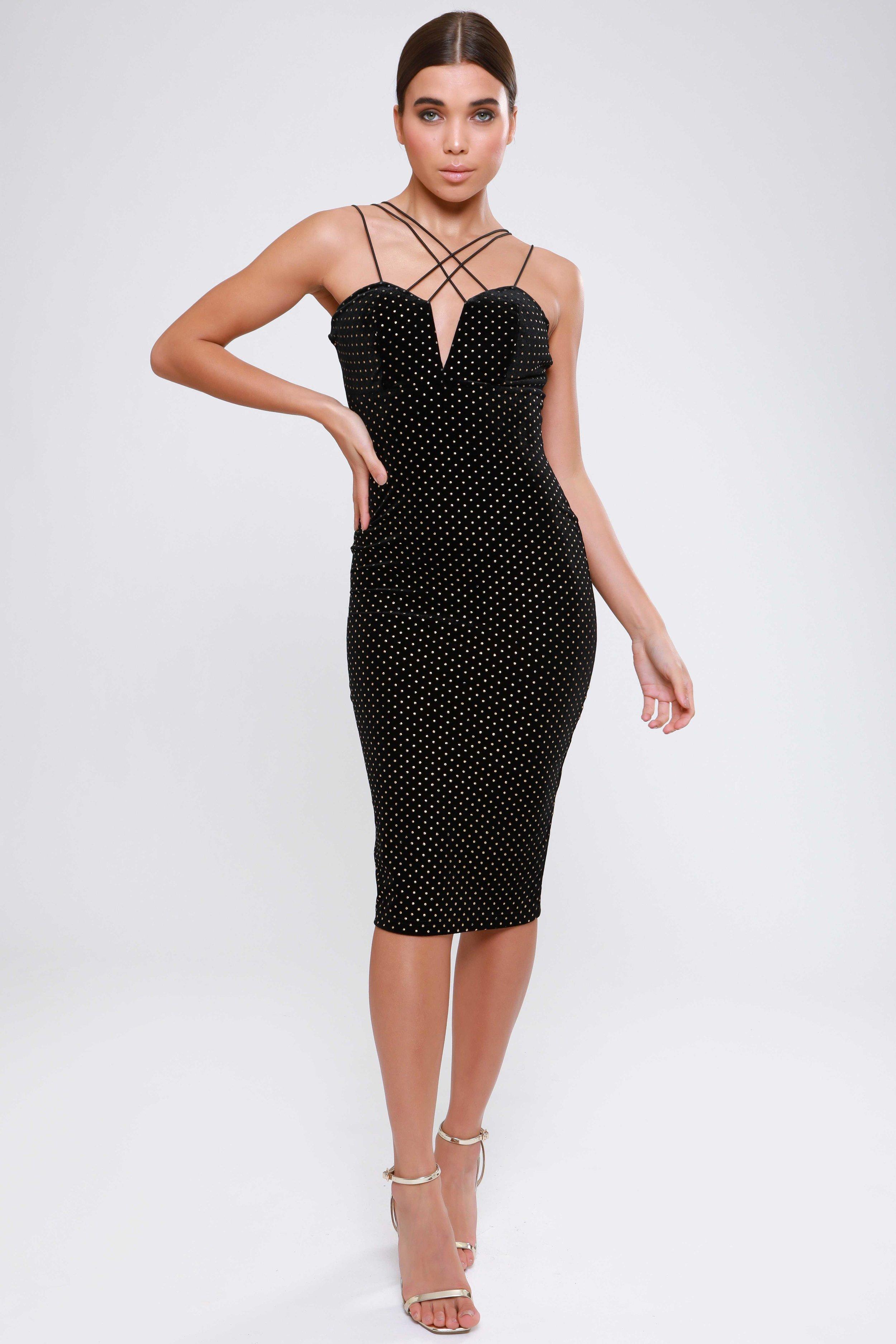 Black Studded Velvet Multi  Strap Midi Dress   £59.00