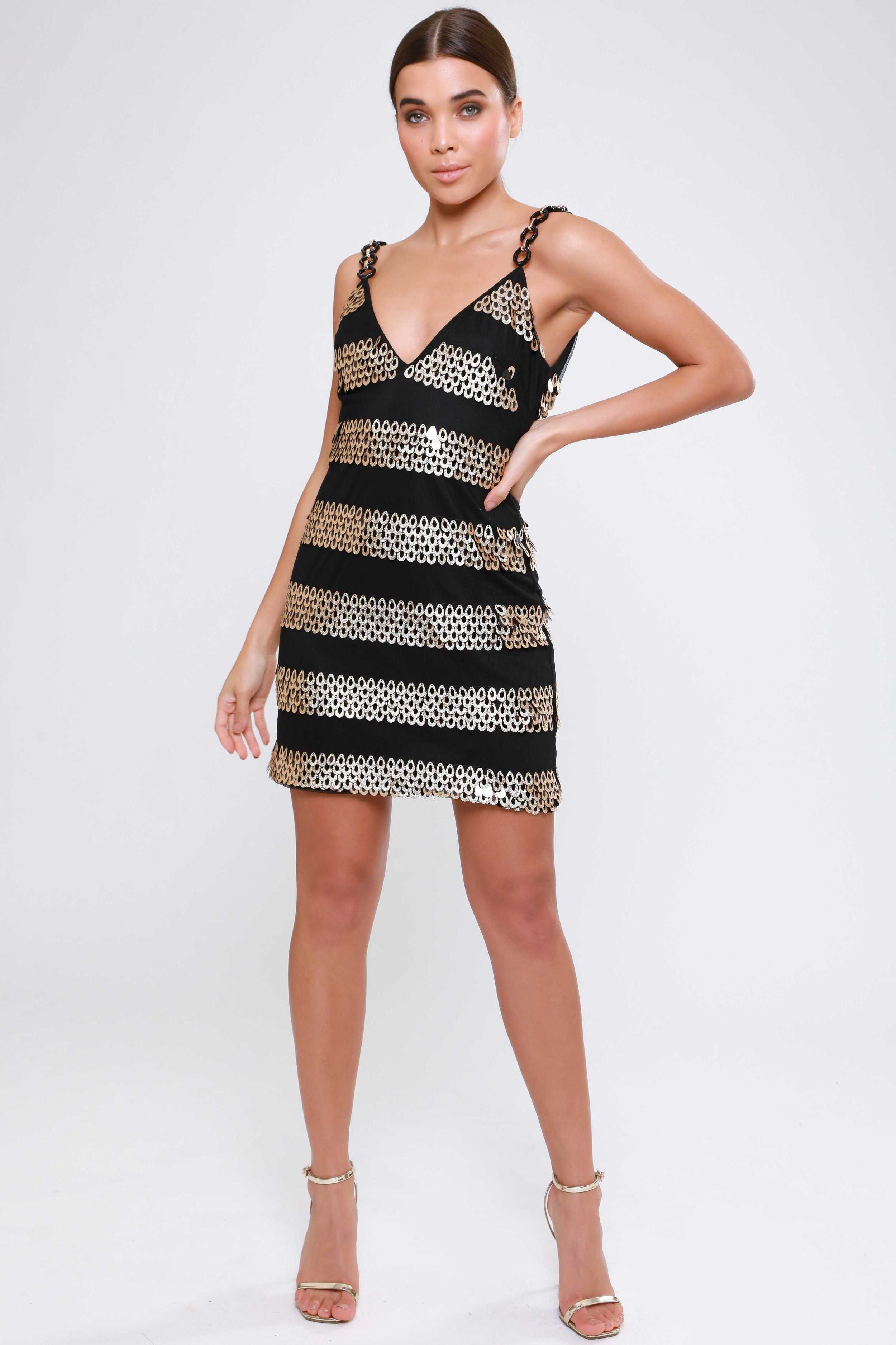 Sequin Dress with Geometric  Chain Straps   £75.00